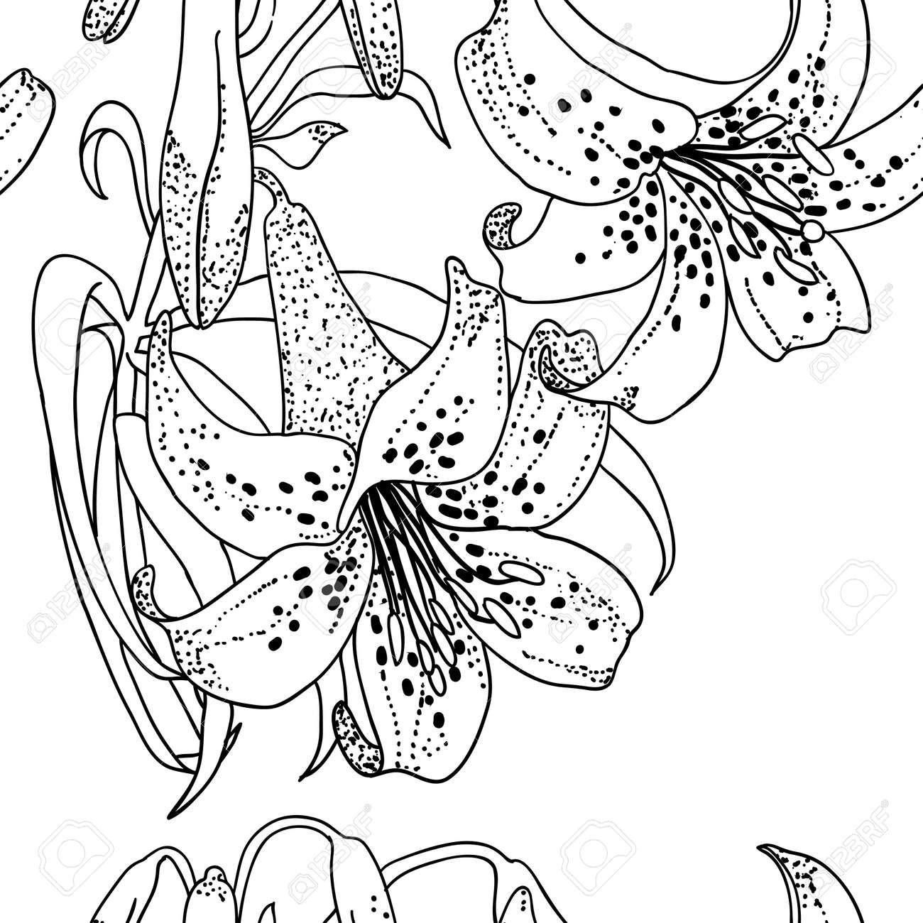 Seamless wallpaper with Lily flowers Stock Vector - 9128211