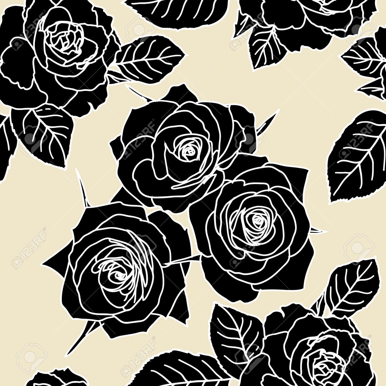 Seamless wallpaper with rose flowers Stock Vector - 9128359