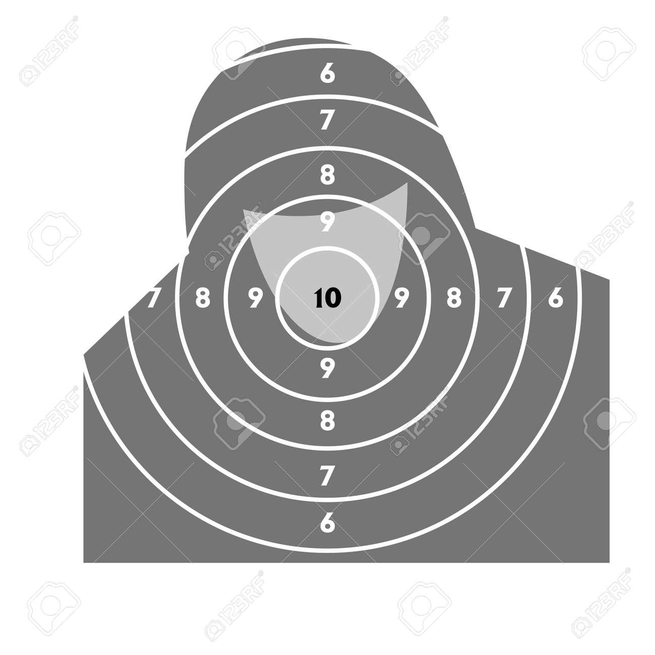 El objetivo de disparos de práctica en un campo de tiro con una pistola Foto de archivo - 9485334