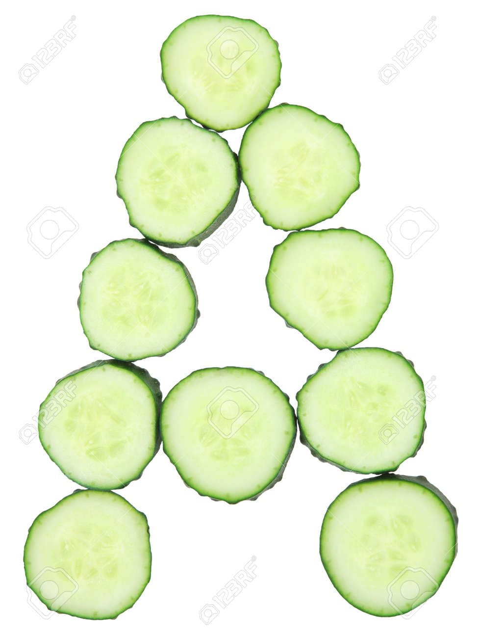 Vegetable Alphabet of chopped cucumber  - letter A Stock Photo - 9740057