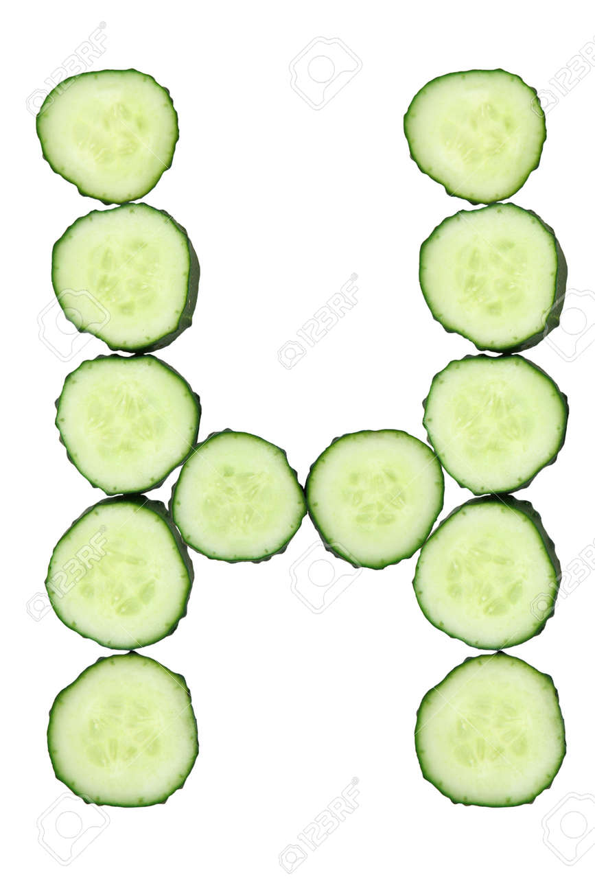 Vegetable Alphabet of chopped cucumber  - letter H Stock Photo - 9848636