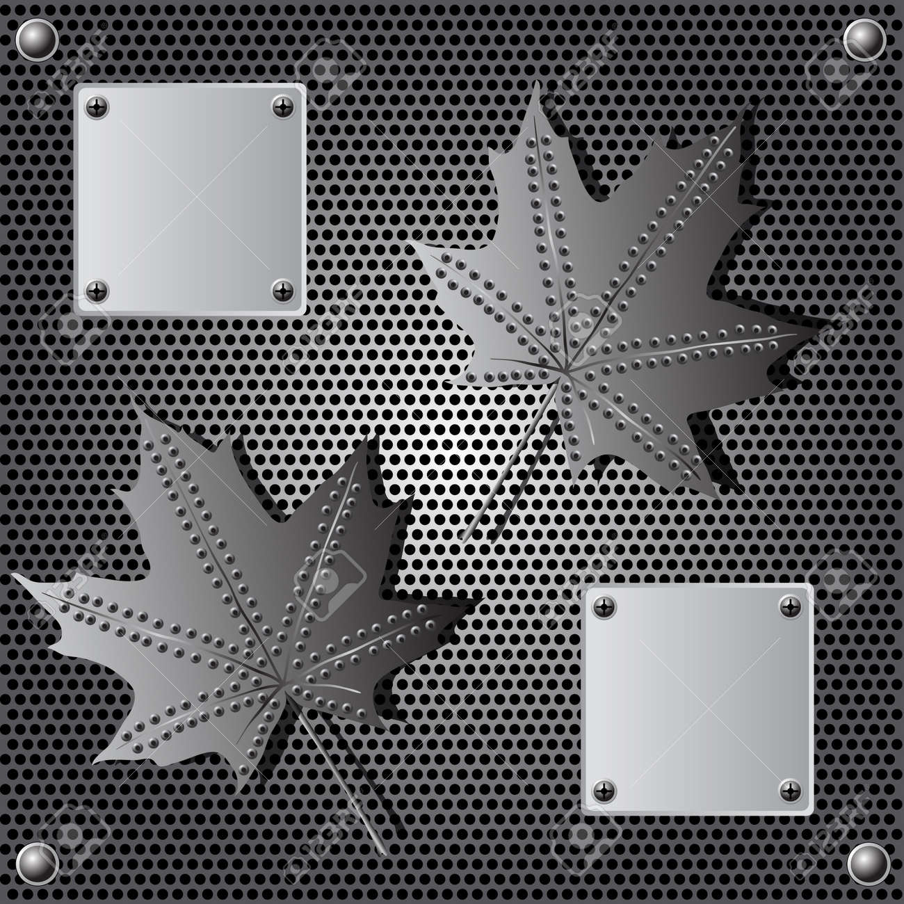 metal shield maple leaf  background with rivets Stock Vector - 9932297