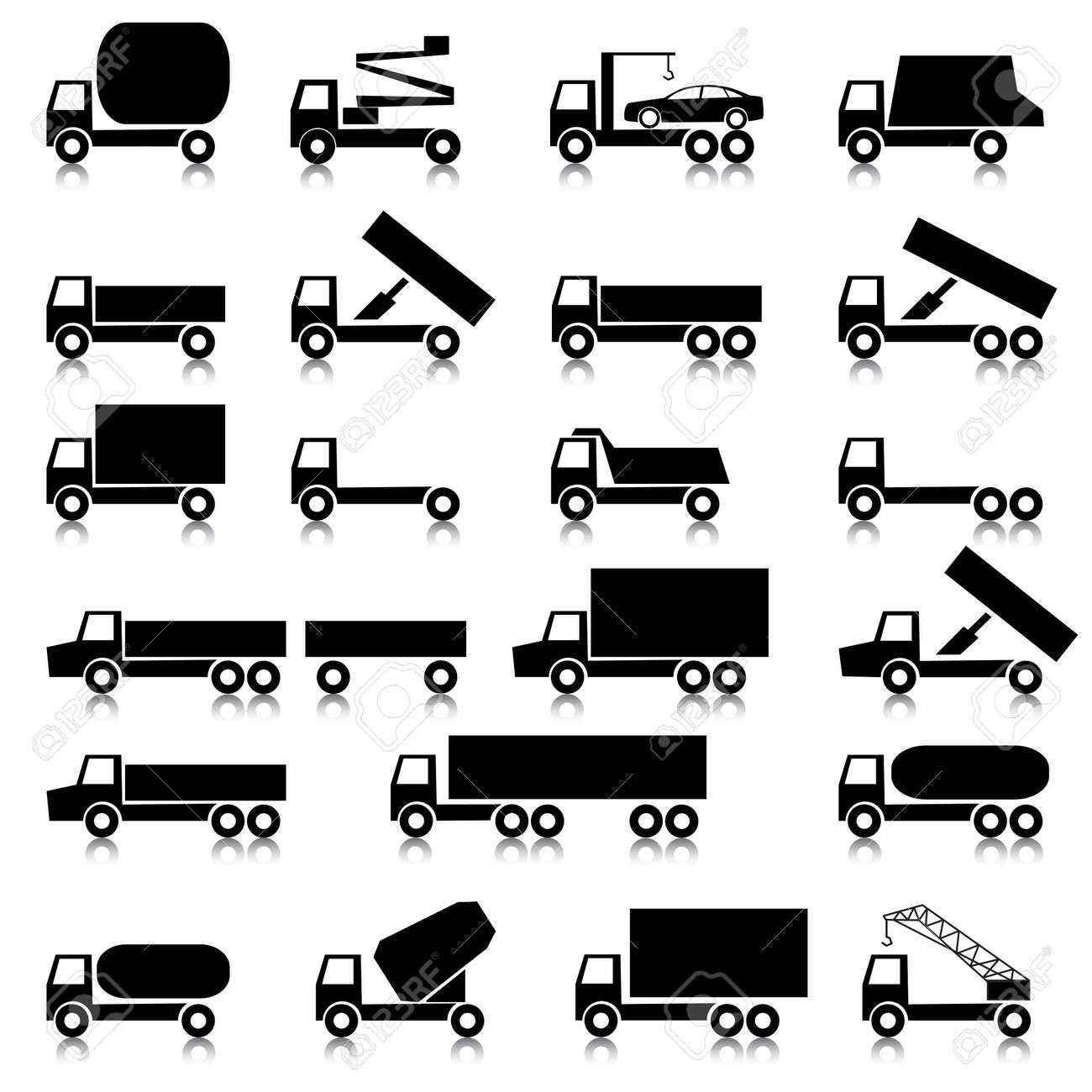 Set Of Vector Icons - Transportation Symbols. Black On White ...