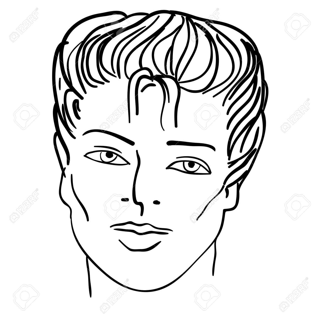 Illustration Visage dessinées à la main mannequin. illustration. visage de l'homme clip