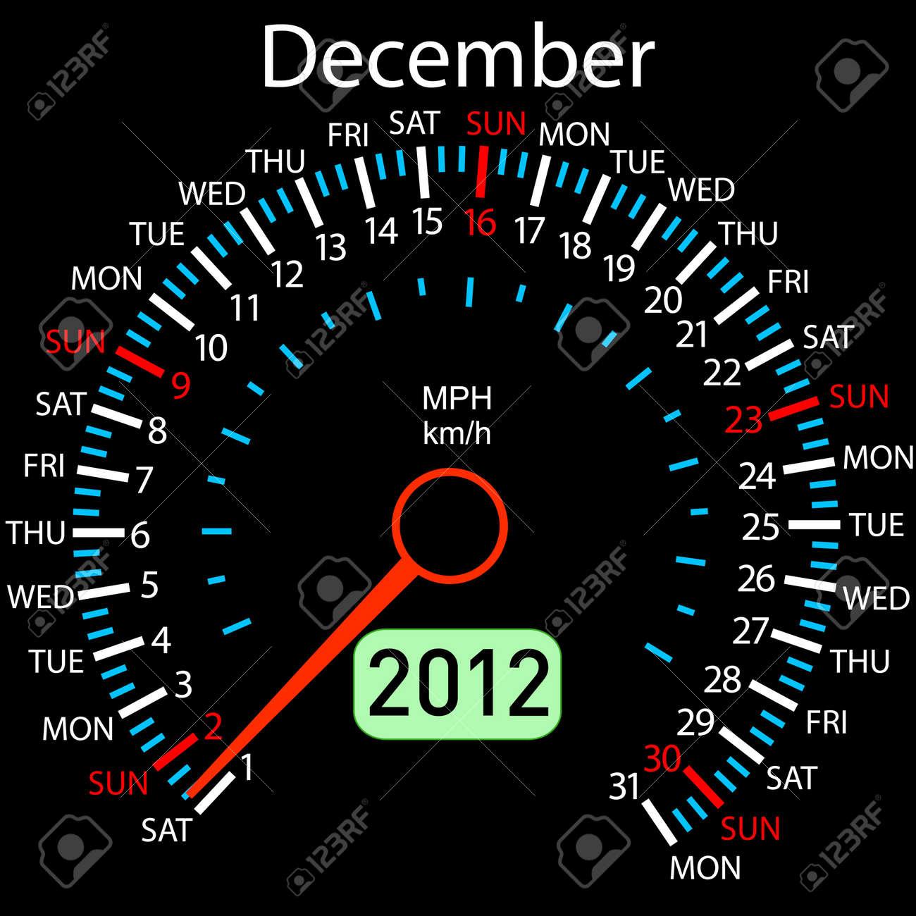 2012 year &iuml,&iquest,&frac12,alendar speedometer car Stock Vector - 10224716