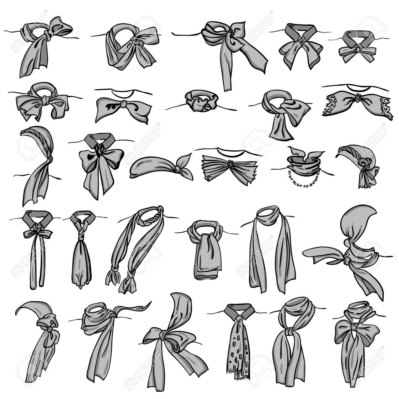 set of different neckerchiefs tied in different ways Stock Vector - 11027532