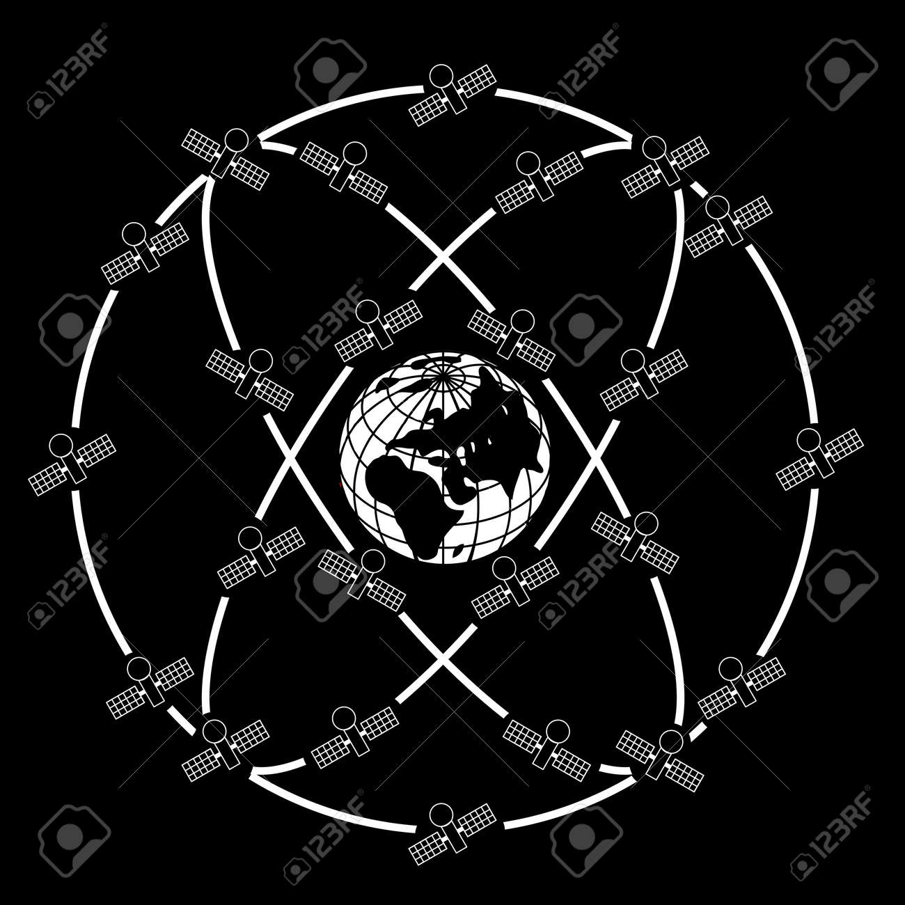 Space satellites in eccentric orbits around the Earth. Stock Vector - 11171889