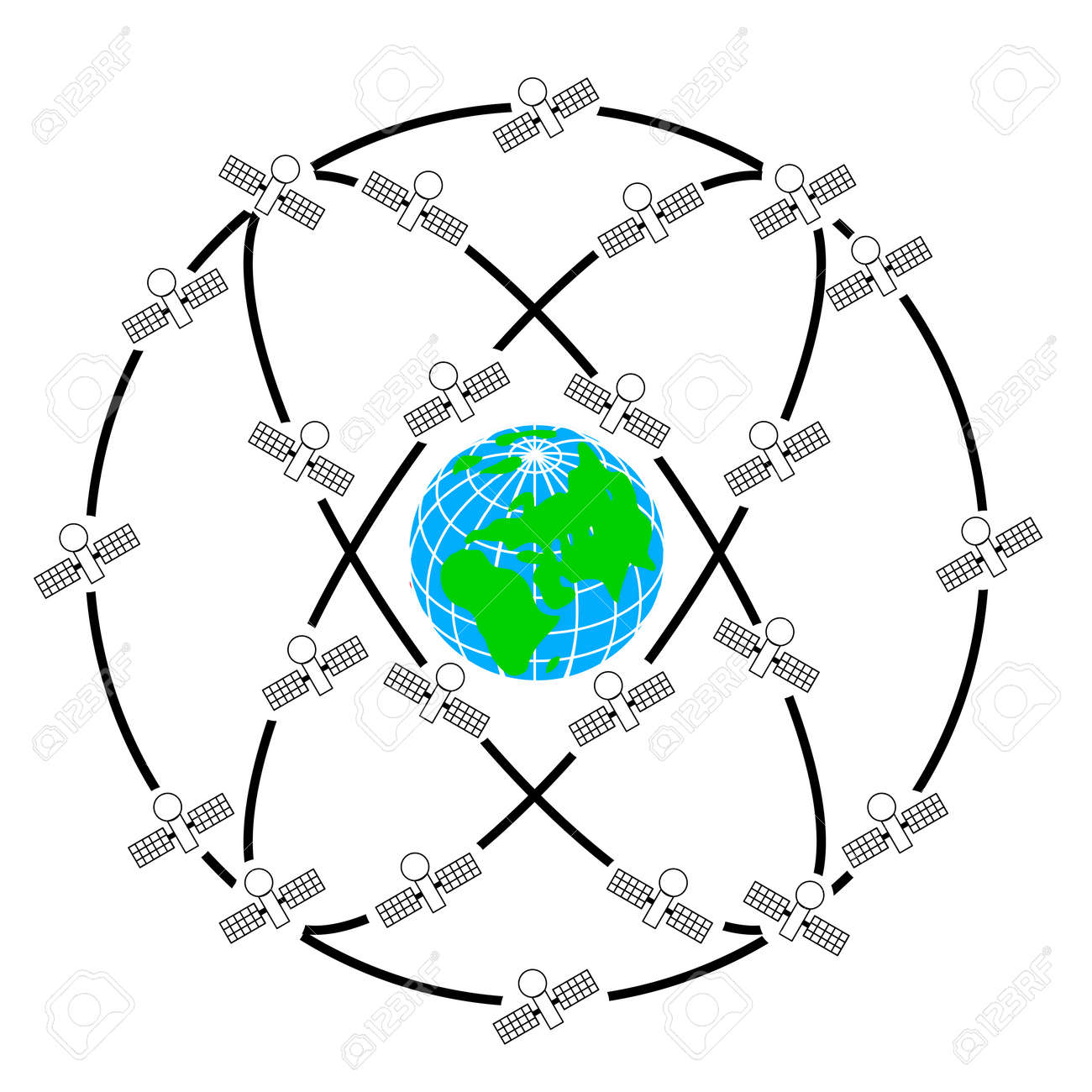 Space satellites in eccentric orbits around the Earth. Stock Vector - 11171890