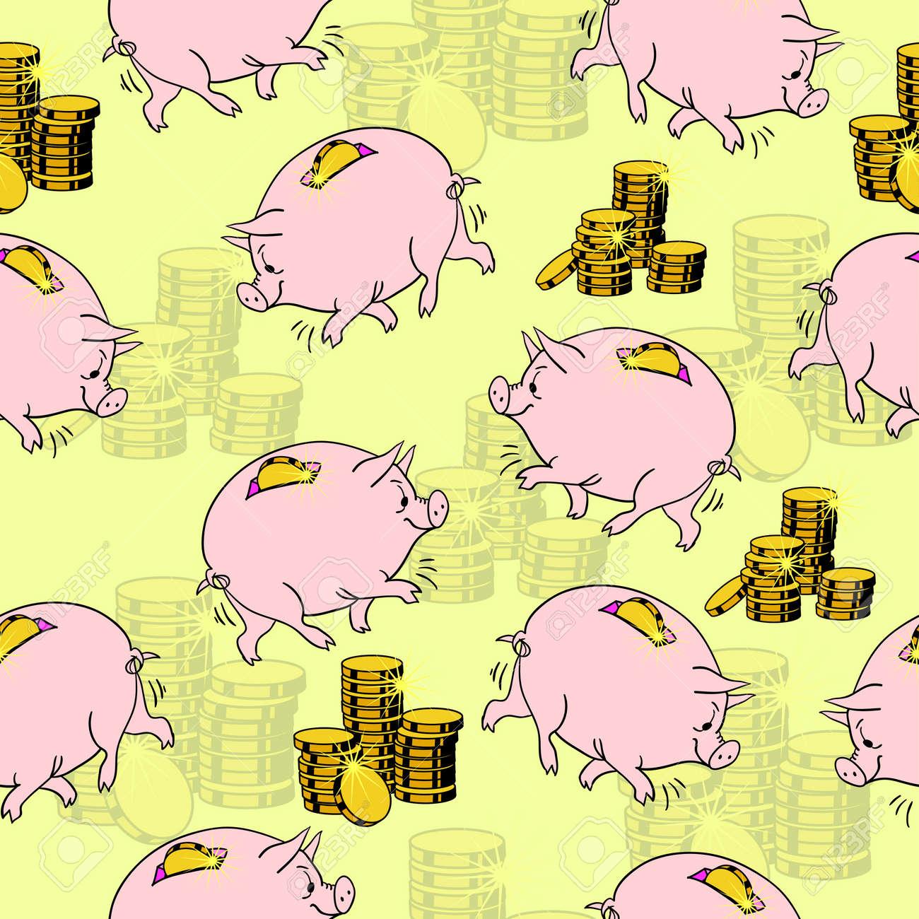 Pig piggy bank, gold coins. Seamless wallpaper. Stock Vector - 11299095
