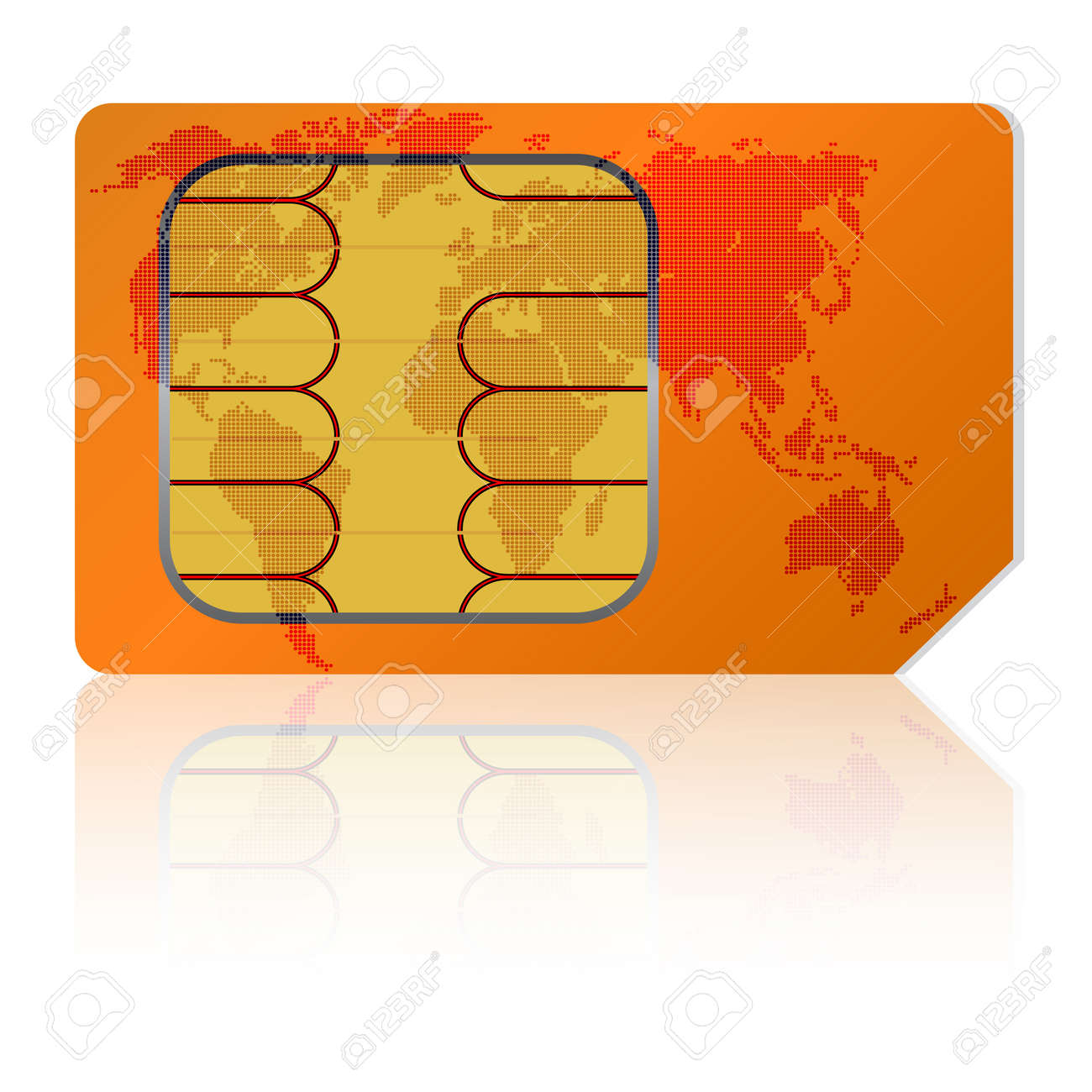 Sim card with a map of the world. Vector illustration. Stock Vector - 11299060