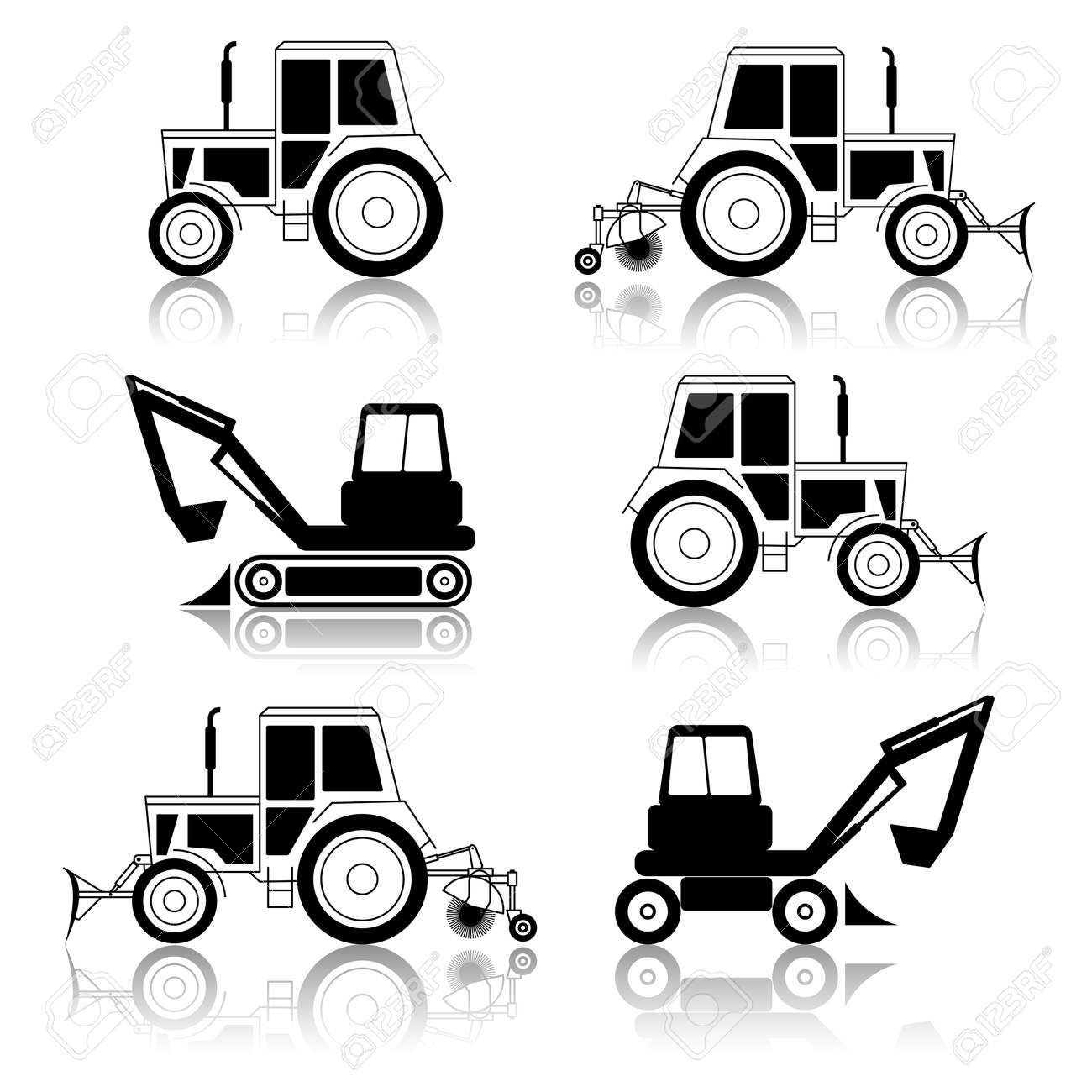 vector excavator end bulldozer isolated on white Stock Vector - 11299086