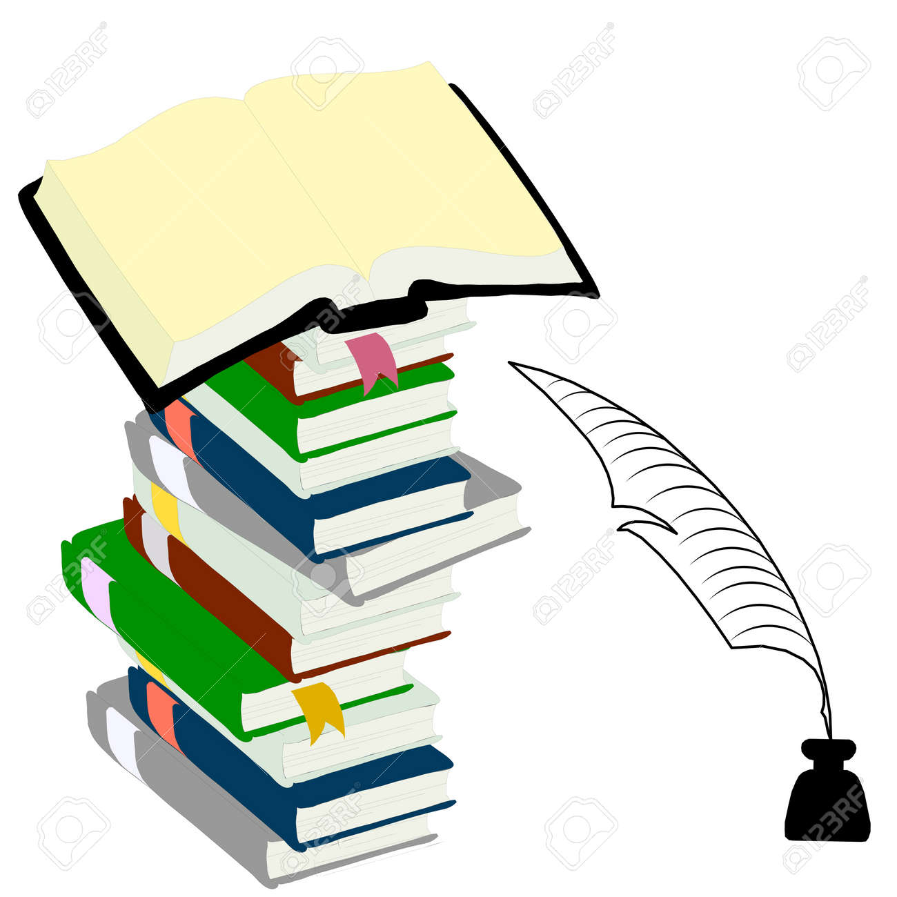 Inkwell  feather and hardcover books  for education concept. Stock Vector - 11582732