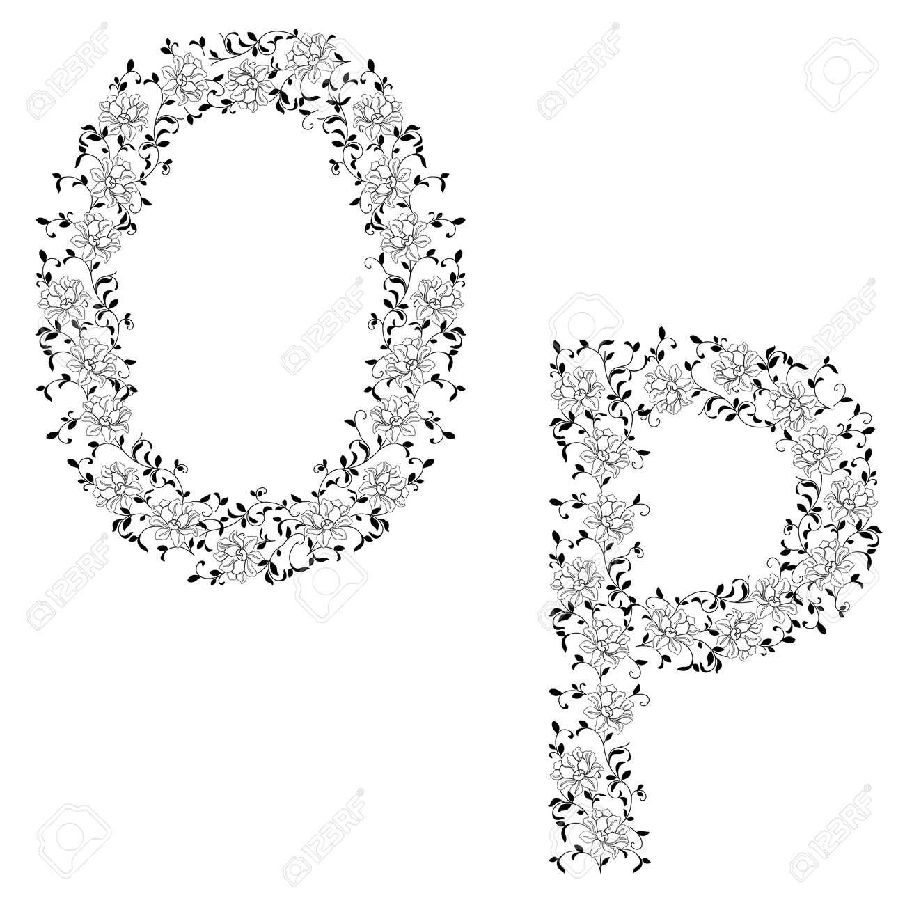 Hand drawing ornamental alphabet. Letter OP Stock Vector - 12482121