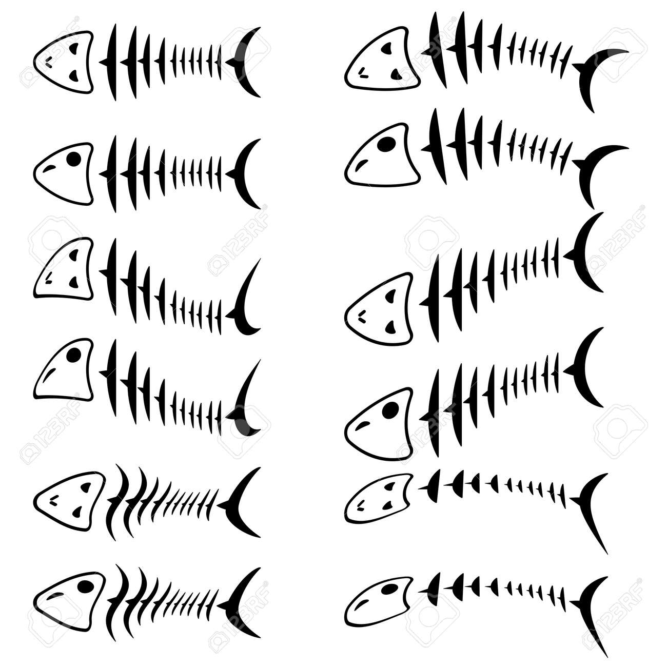 A set of fish skeletons. Vector illustration. Stock Vector - 12482041