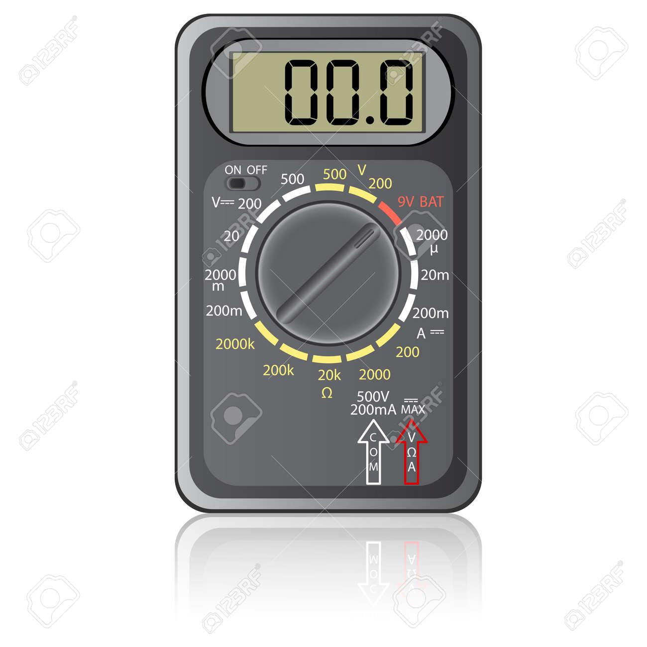 Digital multimeter. Vector illustration. Isolated on white background. Stock Vector - 12481781