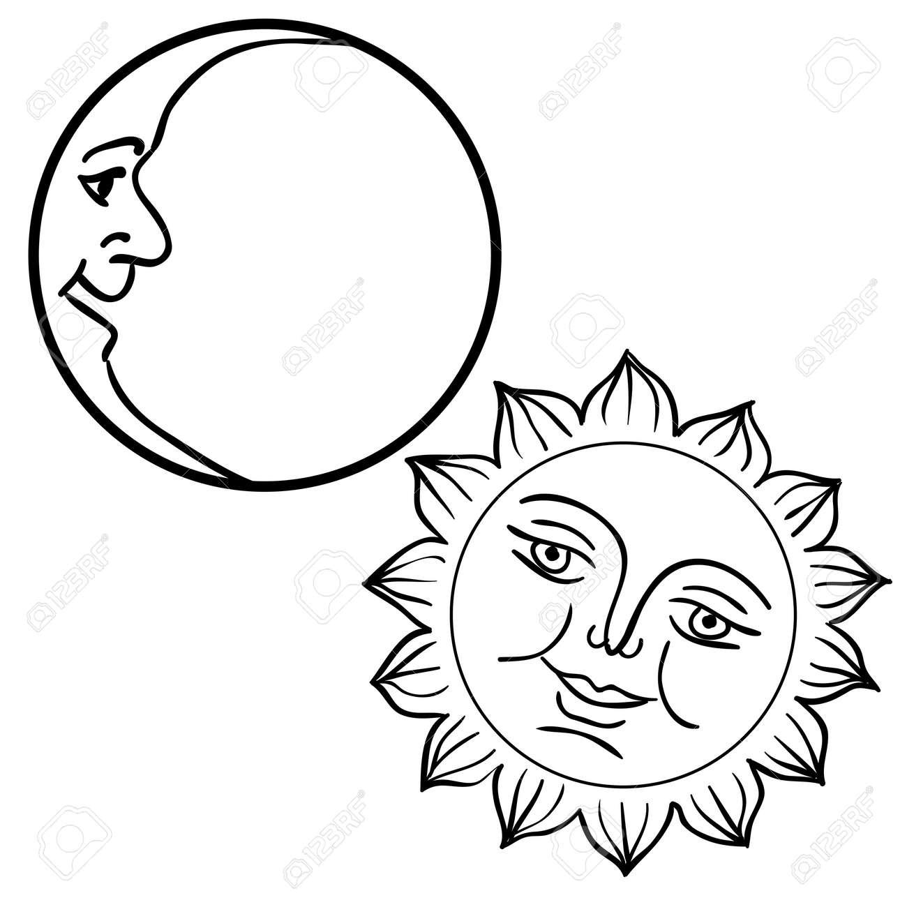 月と太陽の顔を持つのベクトル イラスト ロイヤリティフリークリップ