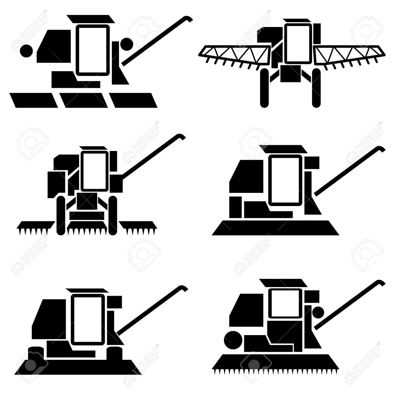vector agricultural vehicles harvesting combine silhouettes set Stock Vector - 12919290