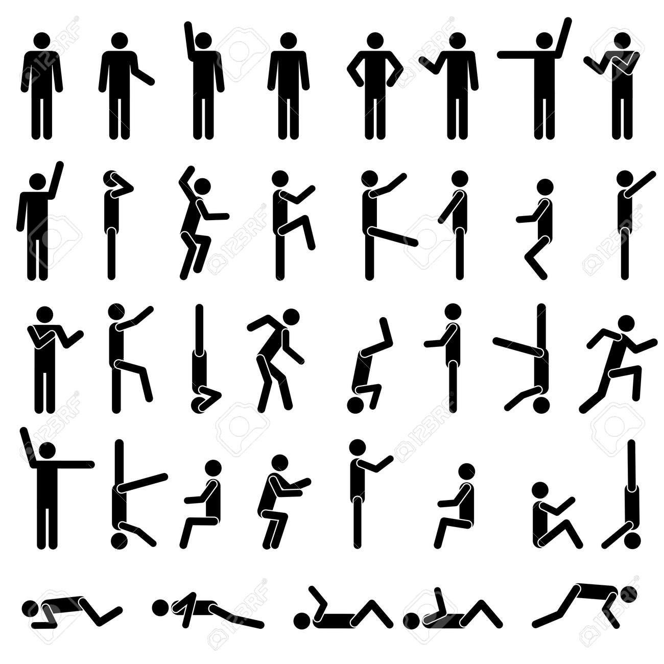 People in different poses vector. Icon Sign Symbol Pictogram Stock Vector - 12919333