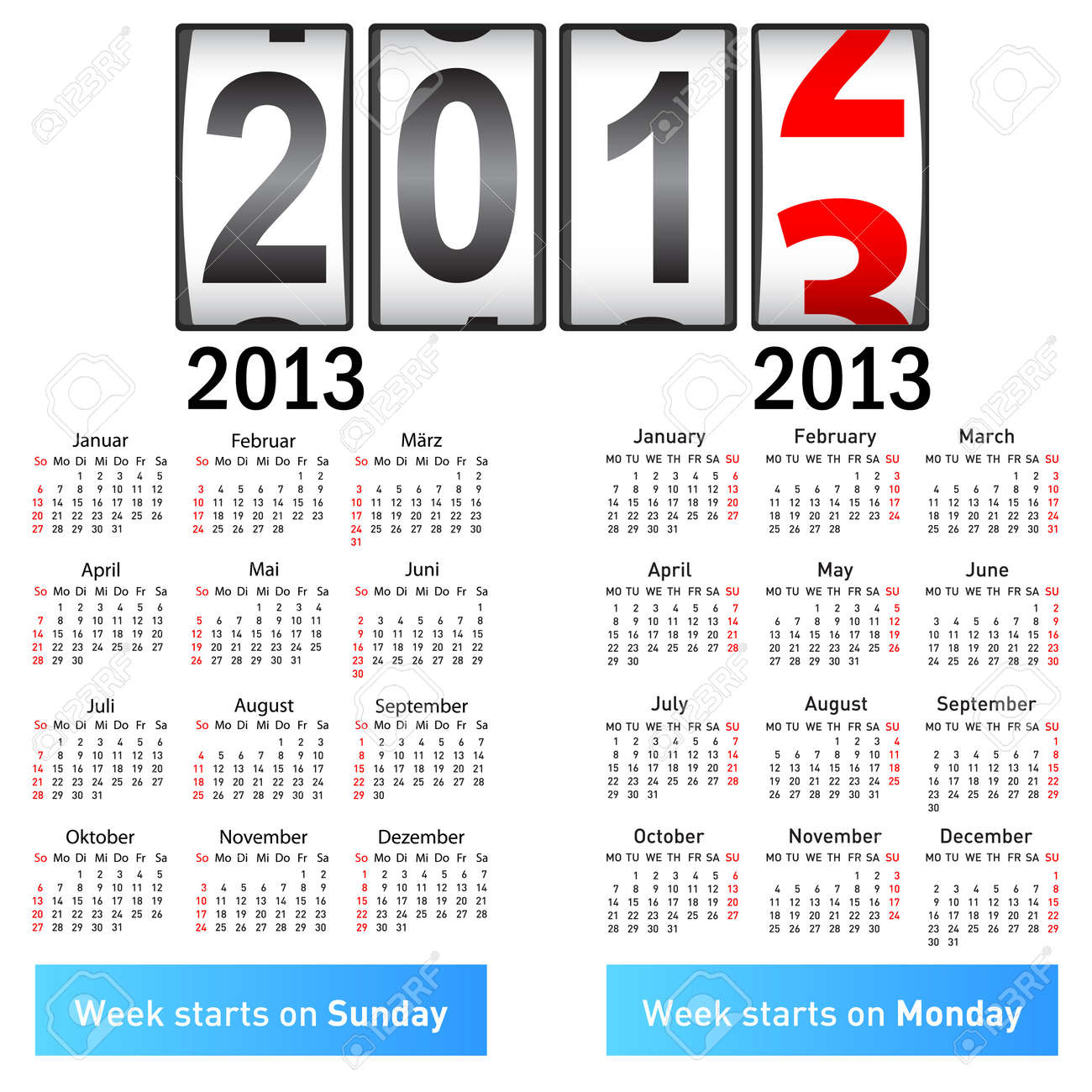 Stylish German calendar  for 2013  In German and English Stock Vector - 13085001
