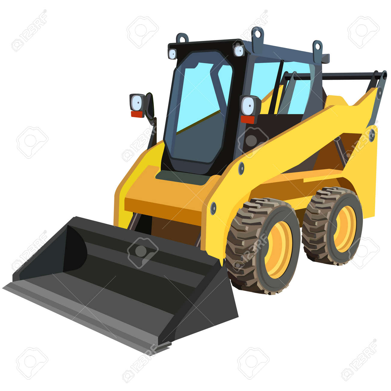 yellow truck with a scraper to lift cargo Stock Vector - 13084717