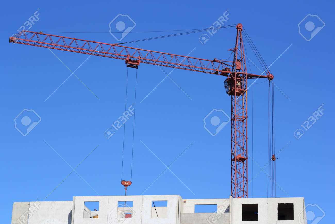 red crane and blue sky on building site Stock Photo - 13983839