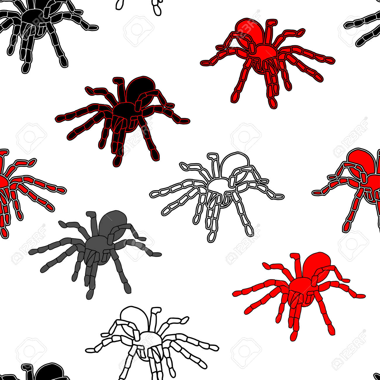 Halloween seamless pattern with black spiders and a web  can be repeated and scaled in any size Stock Vector - 14036656
