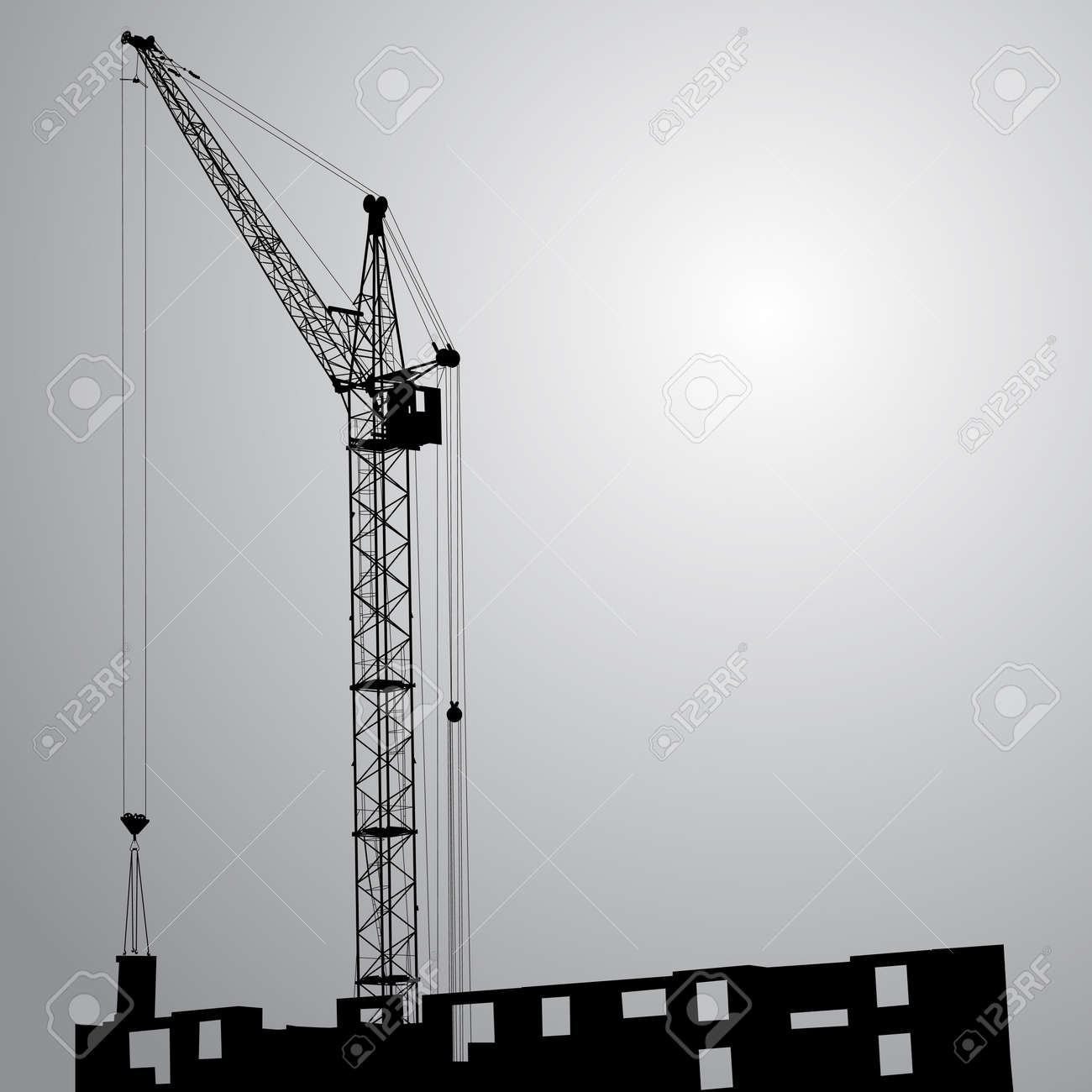 Silhouette of one cranes working on the building on a black background Stock Vector - 14101630