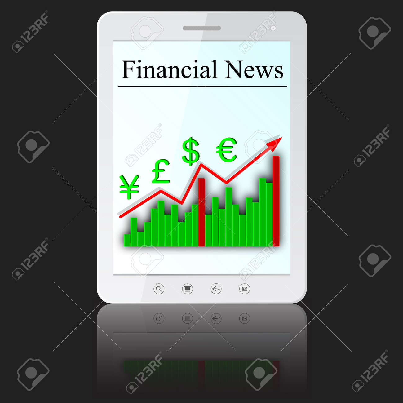 Financial News on white tablet PC computer  isolated on white background. Stock Vector - 14101671