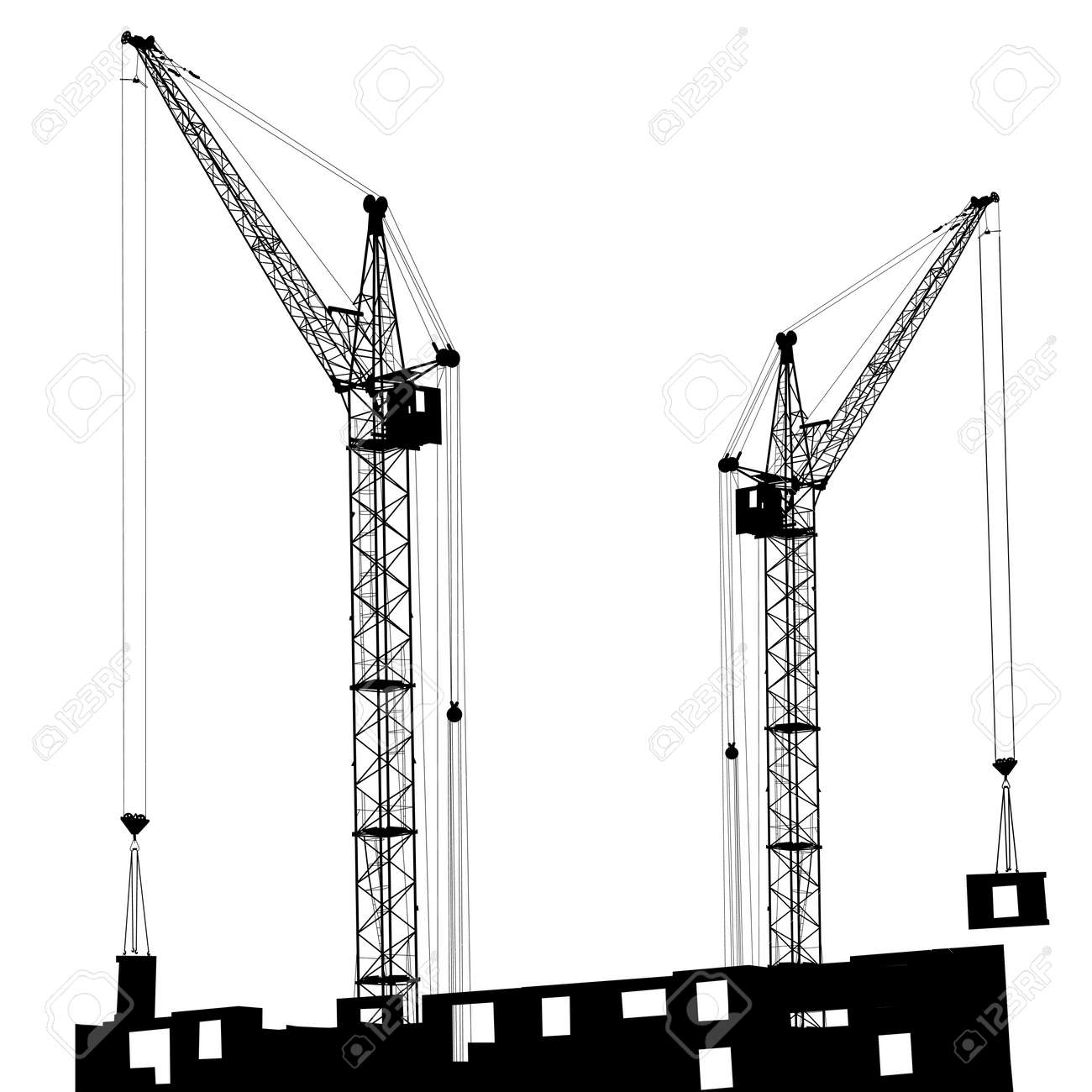 Silhouette of two cranes working on the building Stock Vector - 14101666