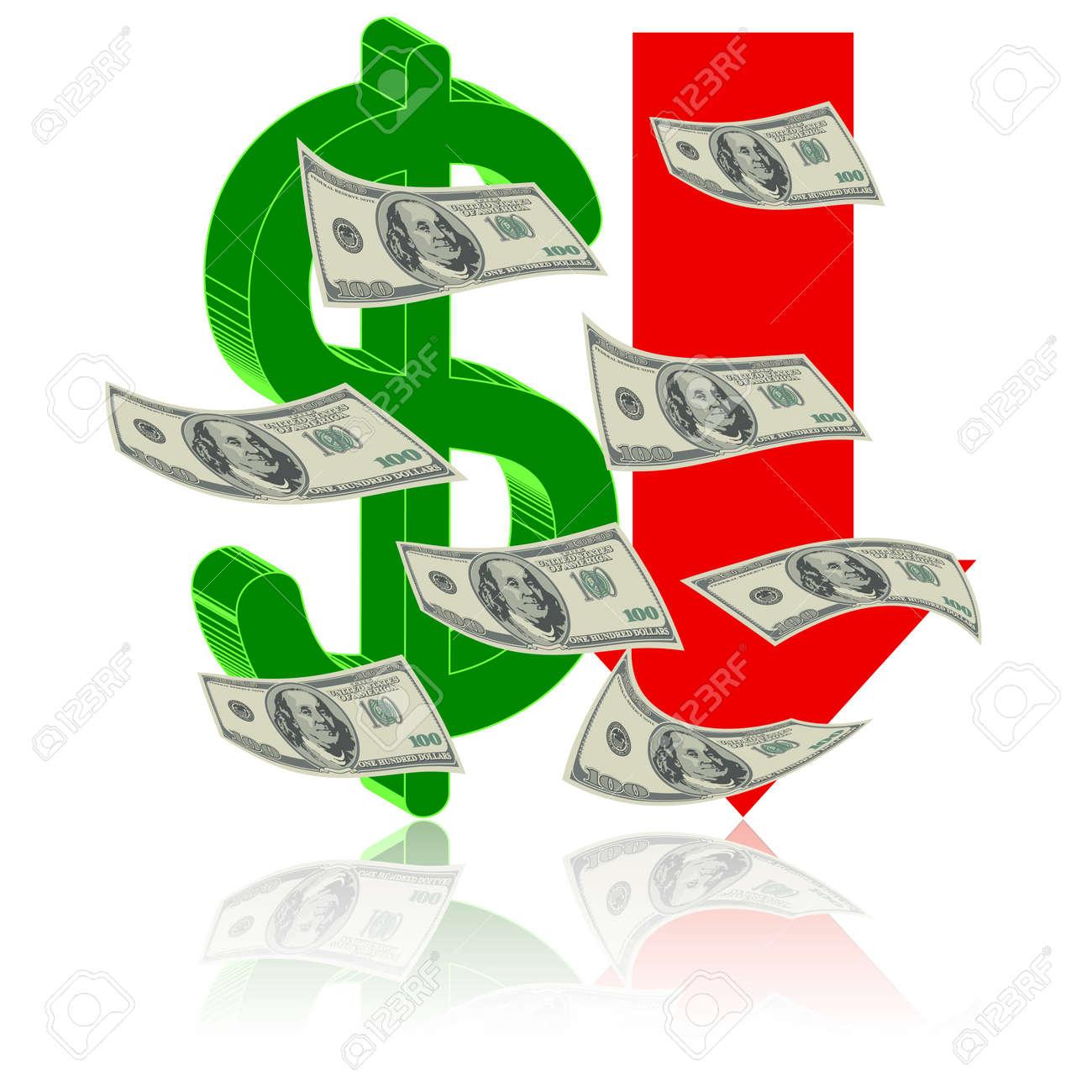 Crisis finance - the dollar symbol  arrow downward - devaluation money - symbolizing the bankruptcy or devaluation of money Stock Vector - 14375180