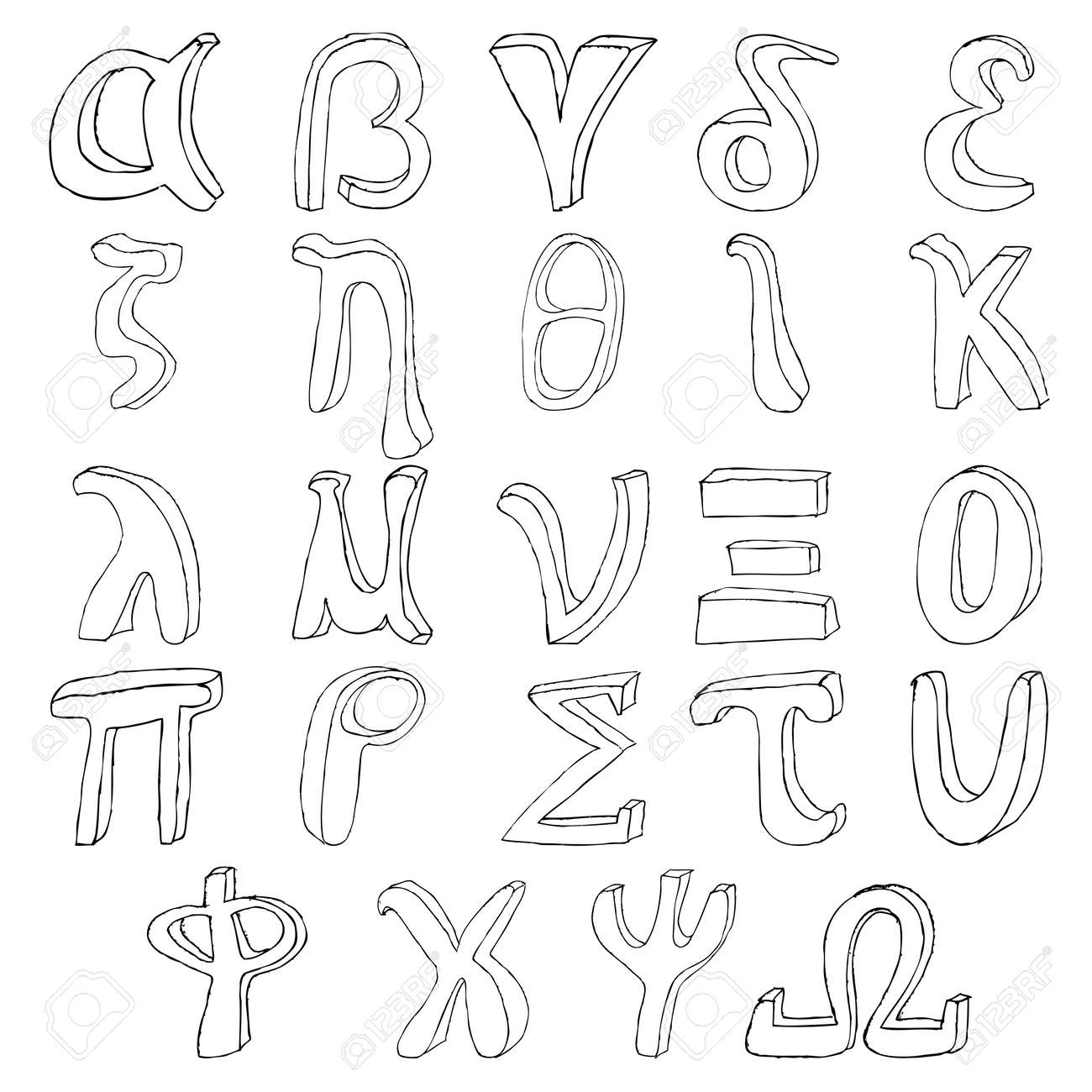Hand drawing greek alphabet illustration set in black ink