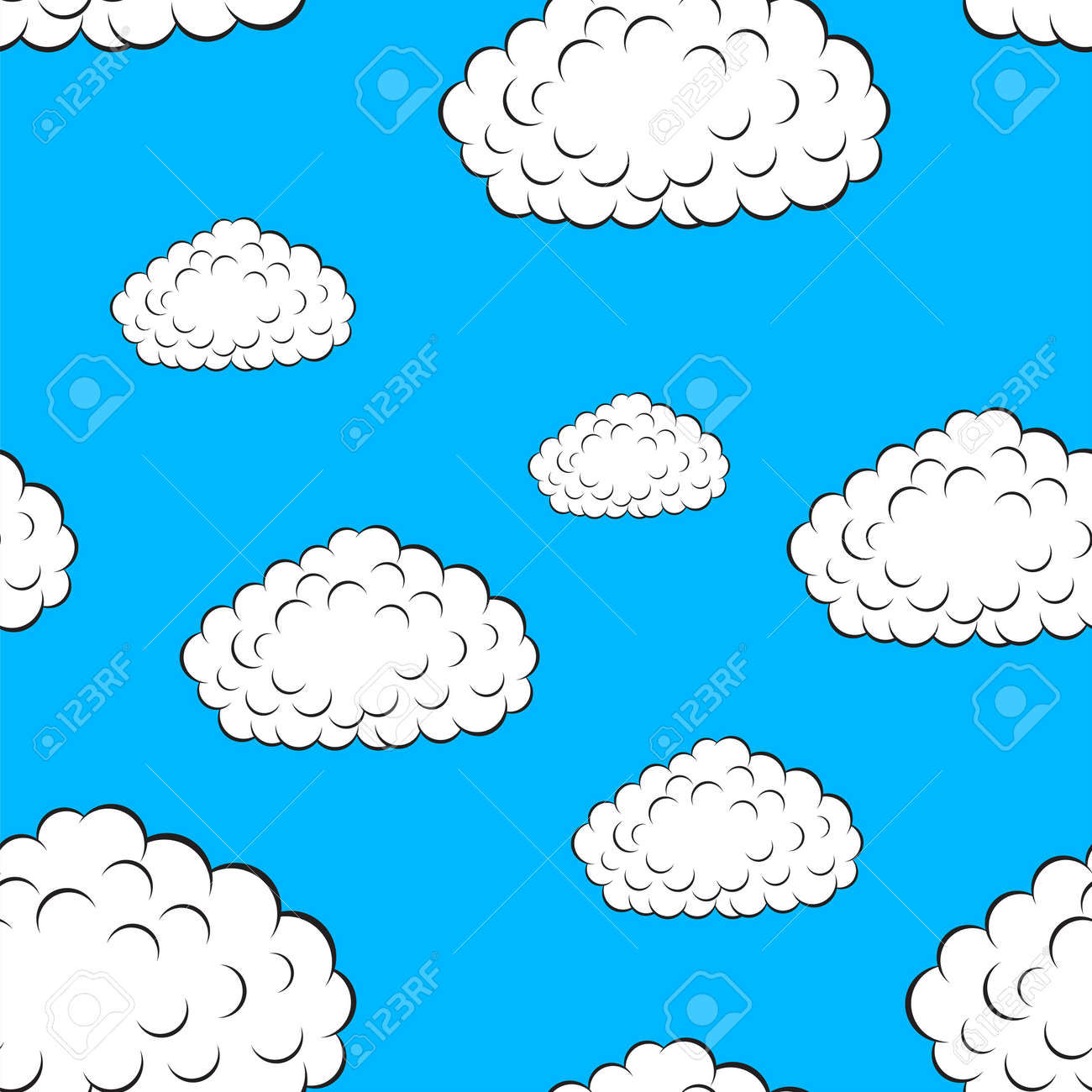 clouds seamless wallpaper, vector illustration Stock Vector - 16114293