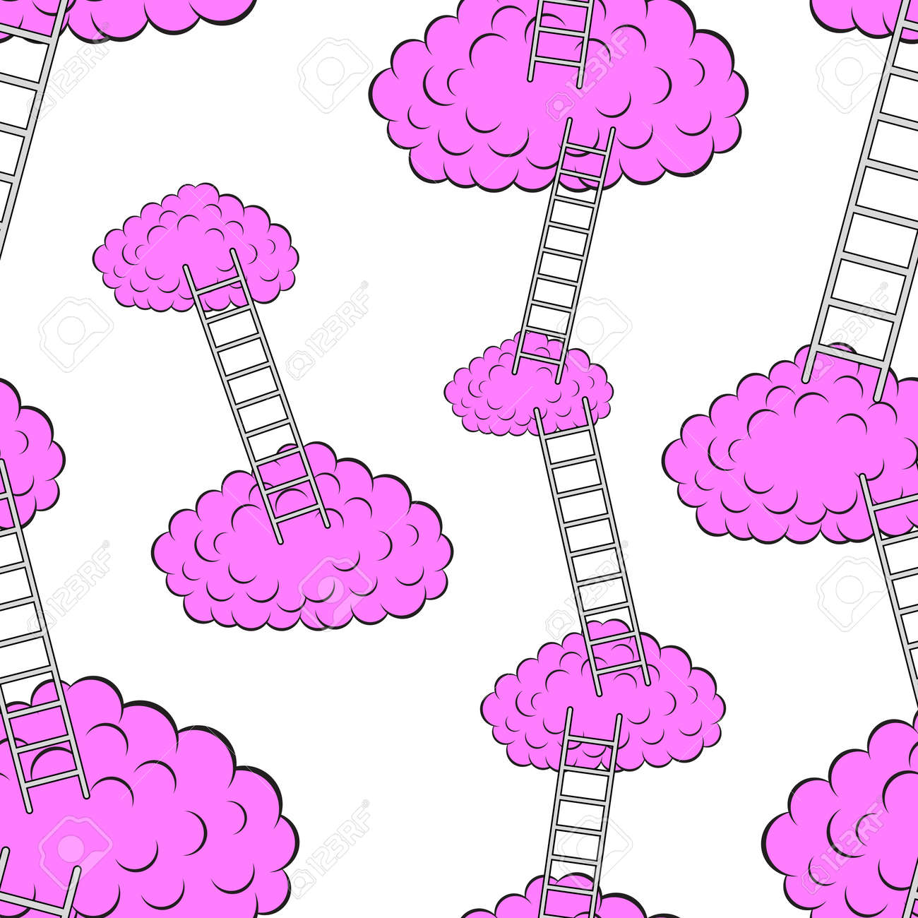 Clouds with stairs, seamless wallpaper, vector illustration Stock Vector - 16114291