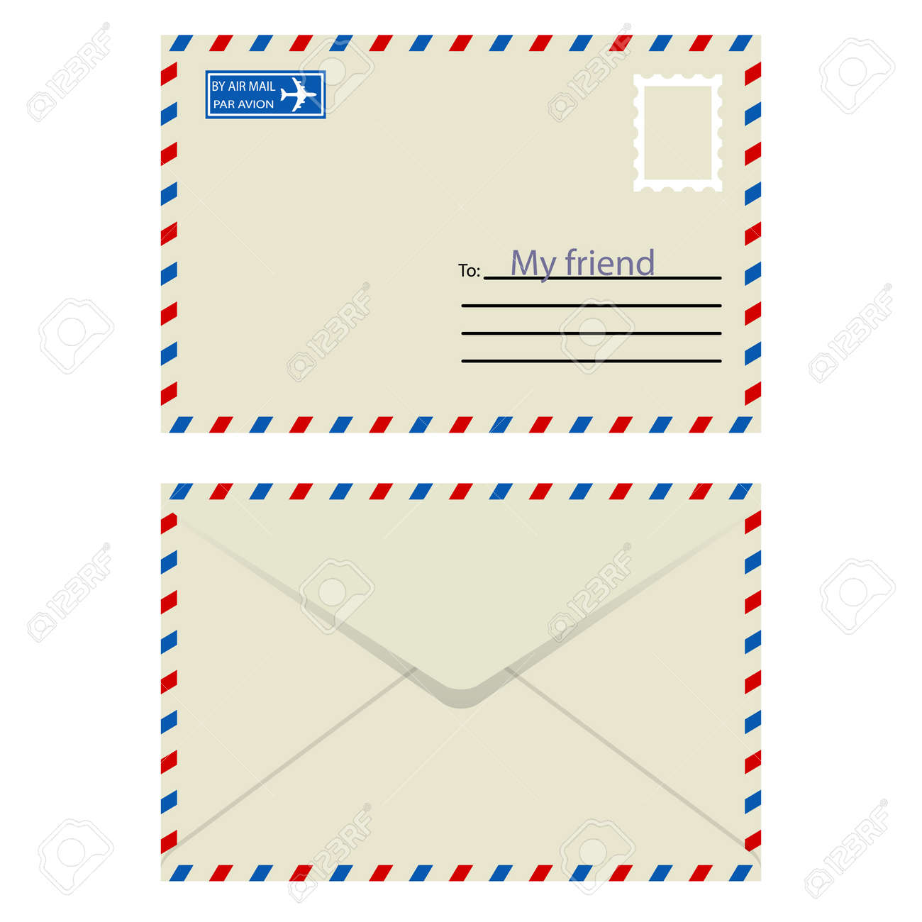 White  envelope with stamp  Vector illustration Stock Vector - 16114266