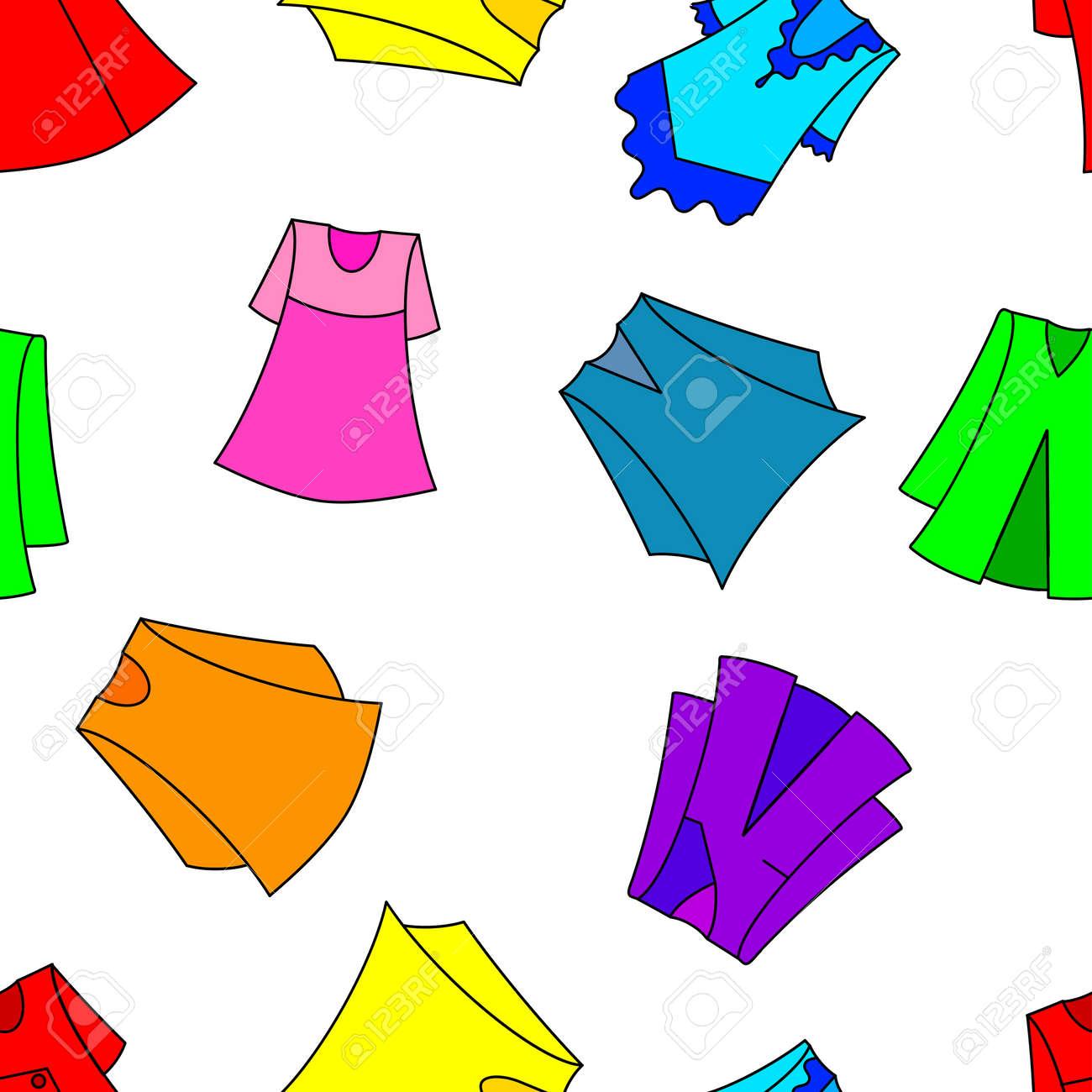 Vestidos De Moda Para Fondo De Pantalla Chica Sin Fisuras Ilustración Vectorial