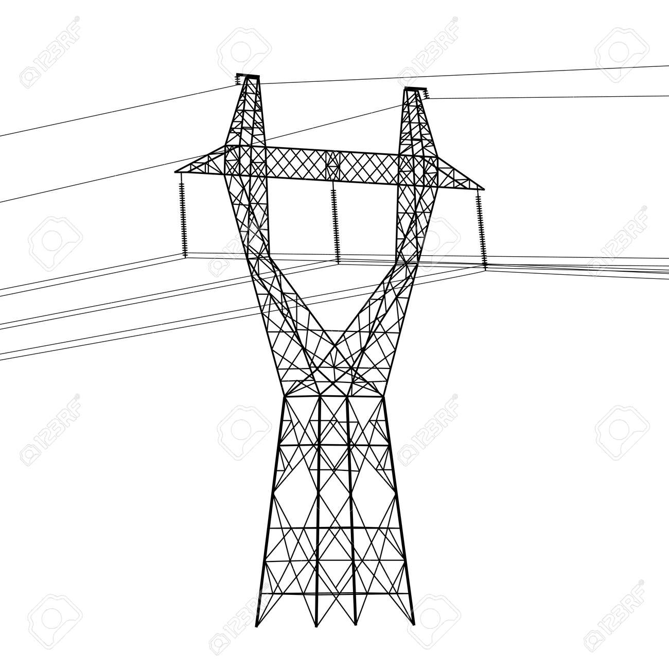 Silhouette of high voltage power lines. Vector  illustration. Stock Vector - 16423438