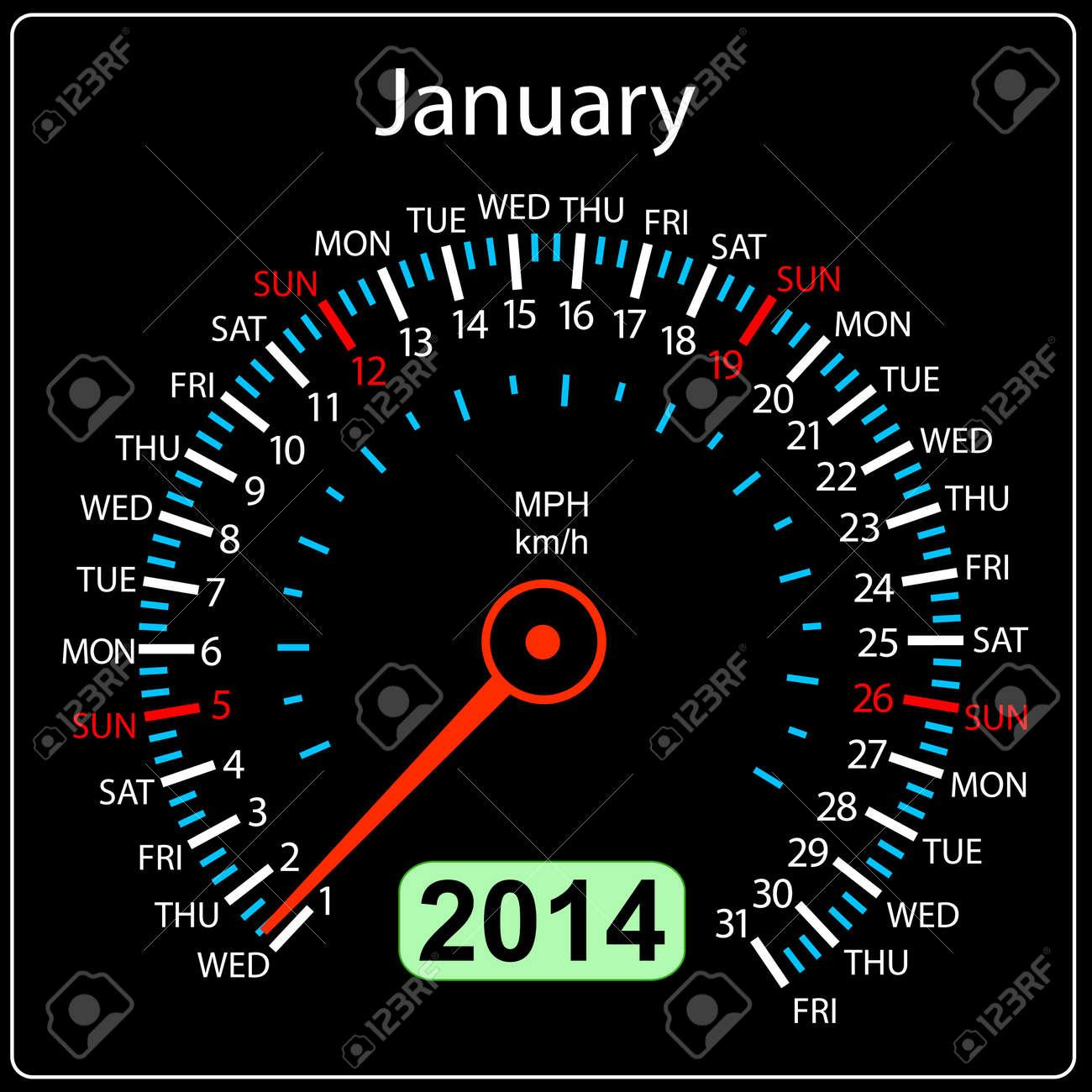 2014 year calendar speedometer car in  January Stock Vector - 17603327