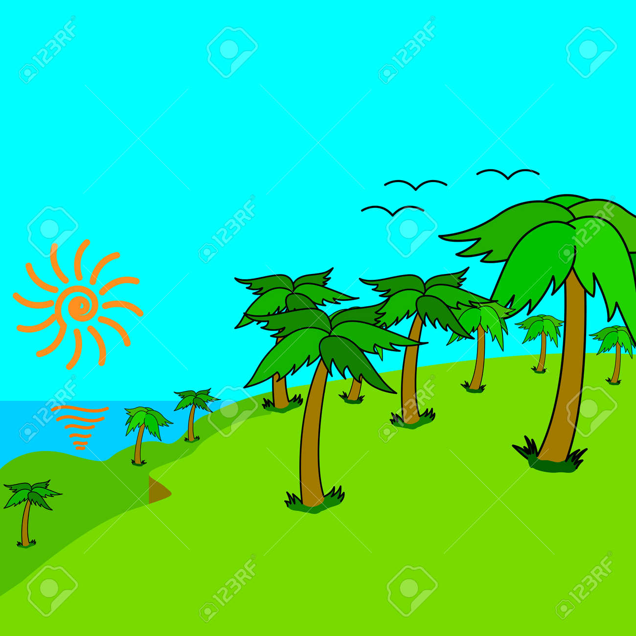 Tropical palms on the tropical island at sunset.  illustration. Stock Vector - 17794520