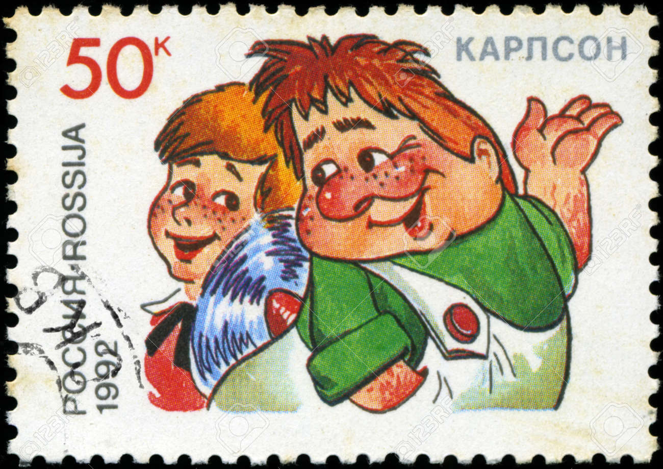 RUSSIA - CIRCA 1992: A stamp printed in Russia shows  Kid and Carlson, series Characters from Children's Books, circa 1992 Stock Photo - 18478233