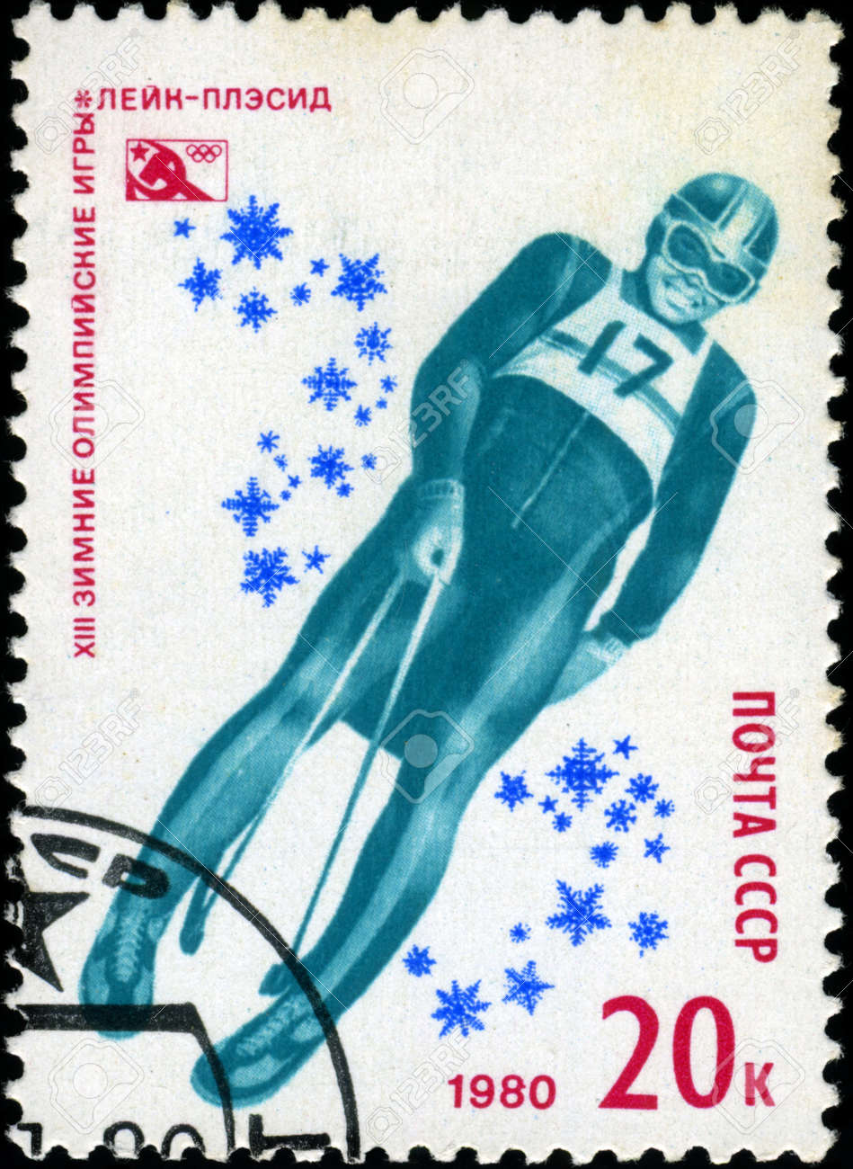USSR-CIRCA 1980: A stamp printed in the USSR, dedicated XIII Winter Olympic Games, Lake Placid, Bob, circa 1980 Stock Photo - 18478236