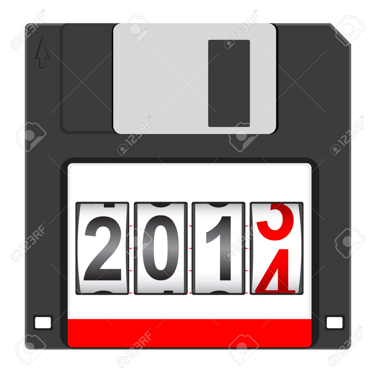 Old floppy disc for computer data storage with 2014 New Year counter isolated on white background Stock Vector - 18998028