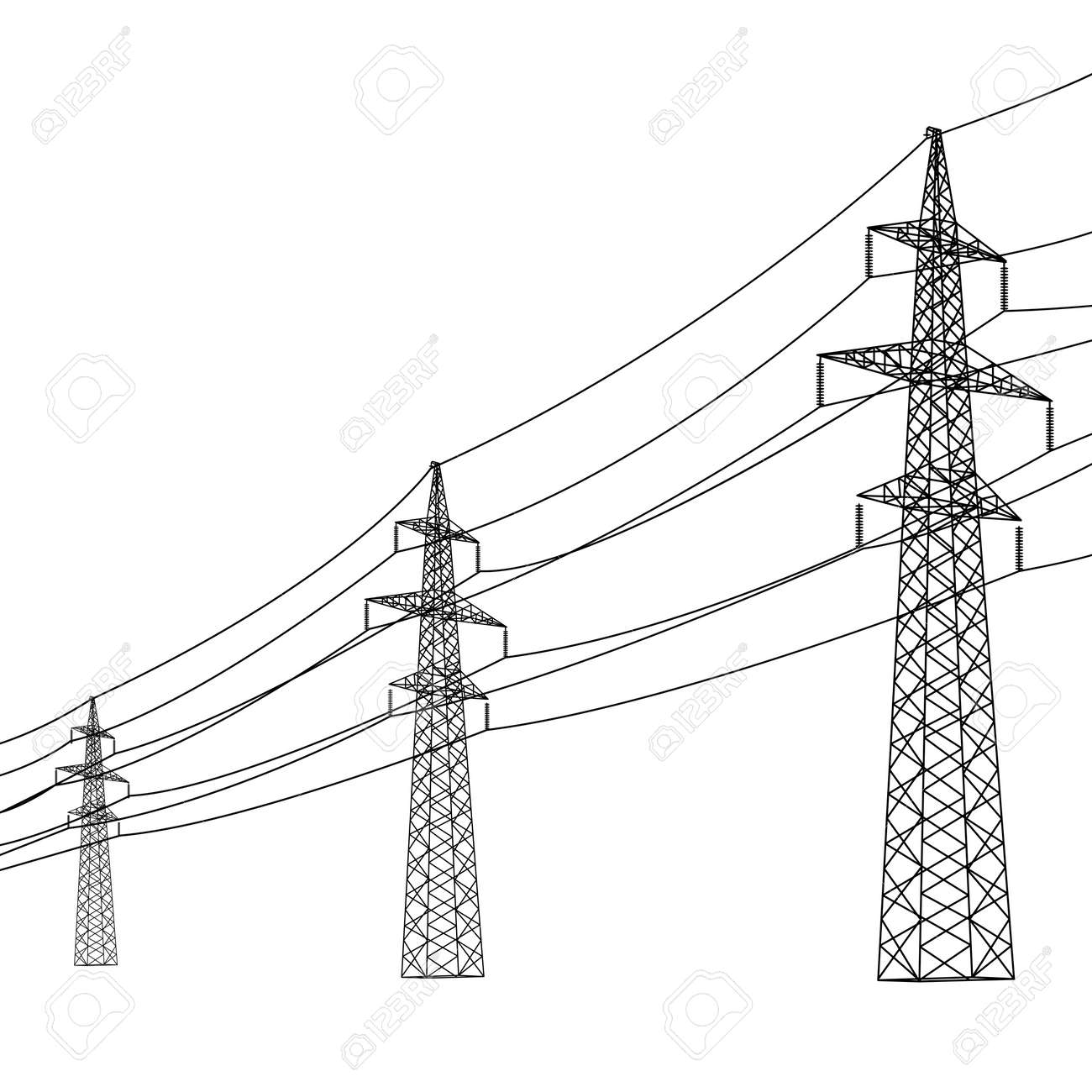 Silhouette of high voltage power lines. Vector illustration. - 20671737