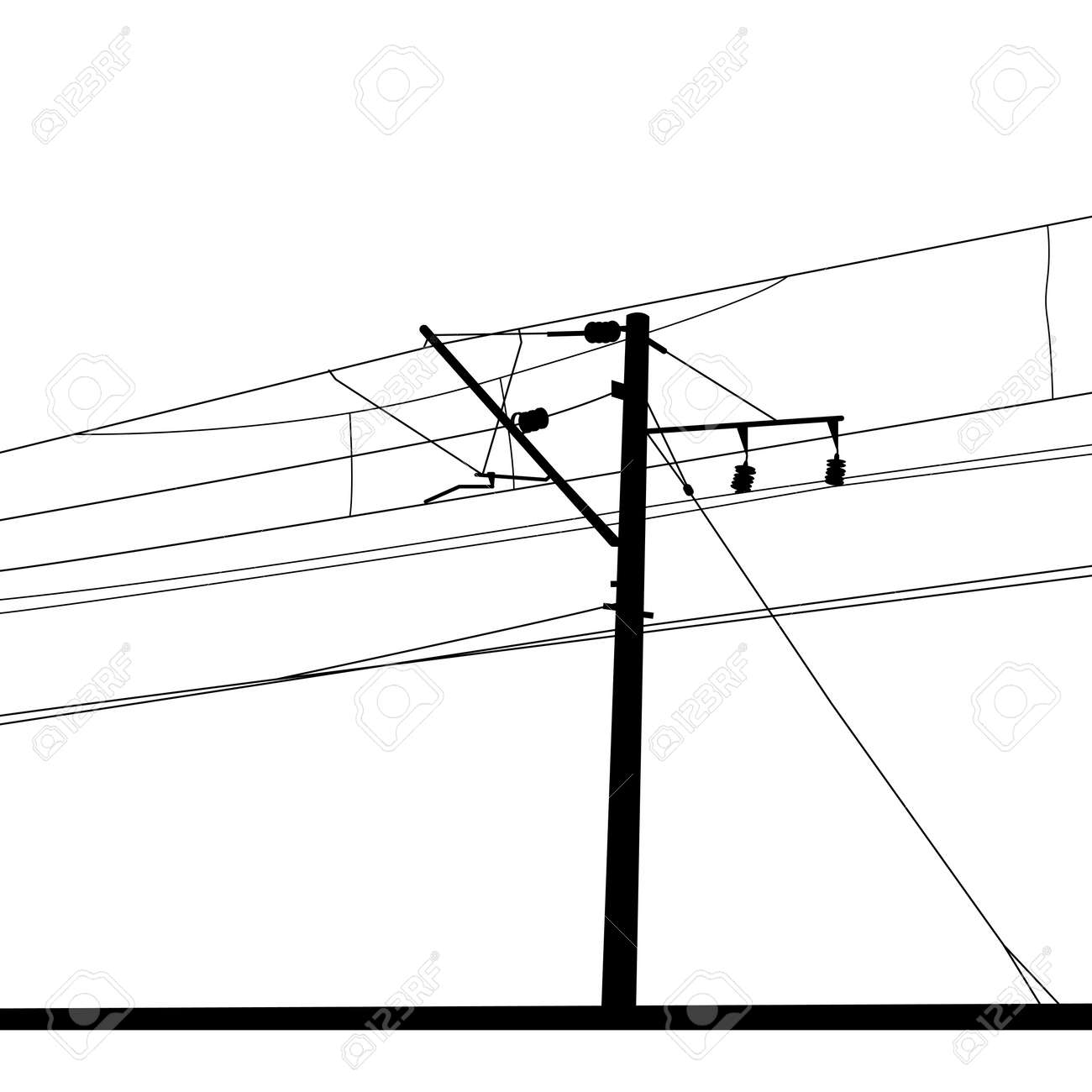 20671745 Railroad overhead lines Contact wire Vector illustration Stock Vector how to connect a wire how to connect a wire how to connect,Wiring Phone Lines