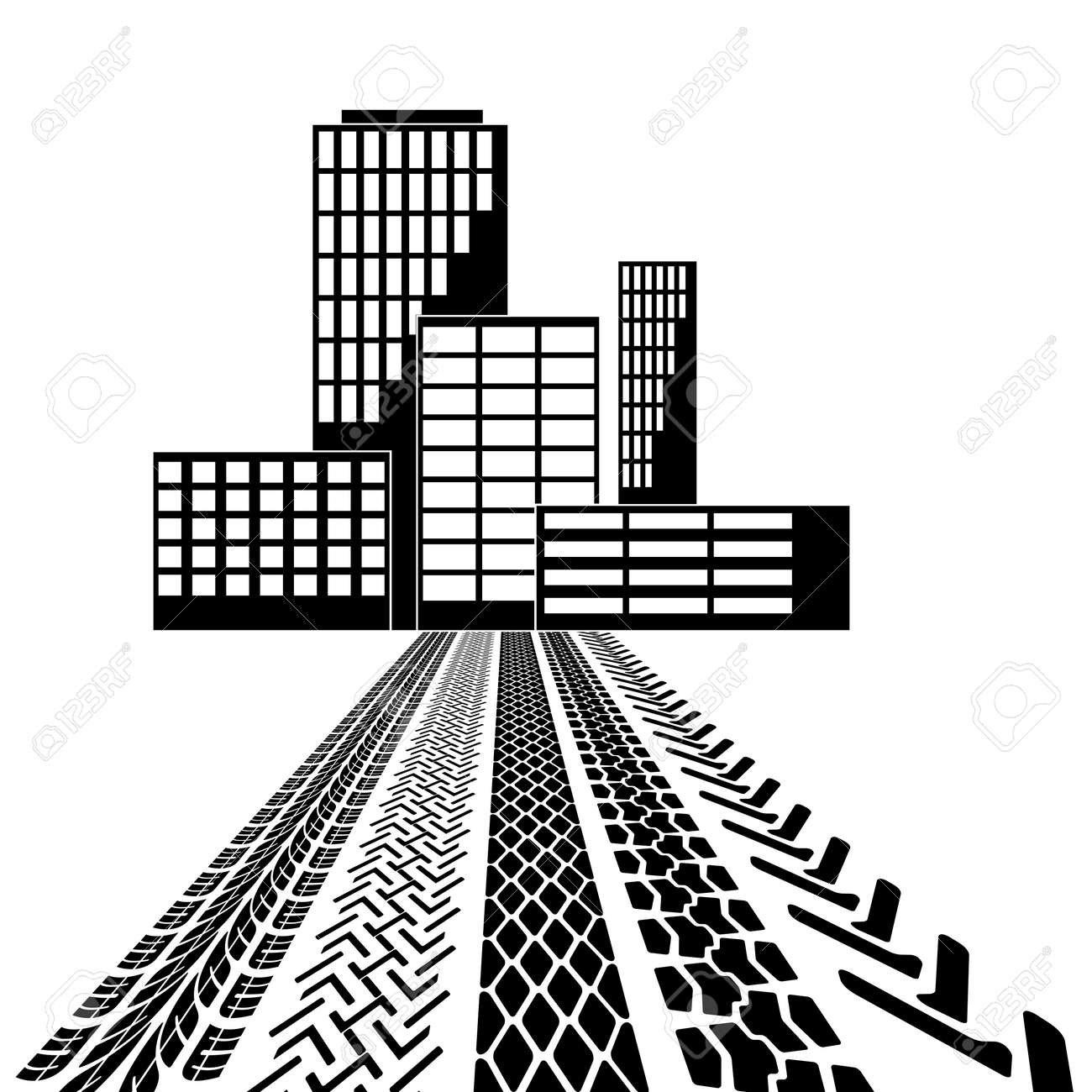 Set of detailed tire prints leading to the building vector illustration stock vector
