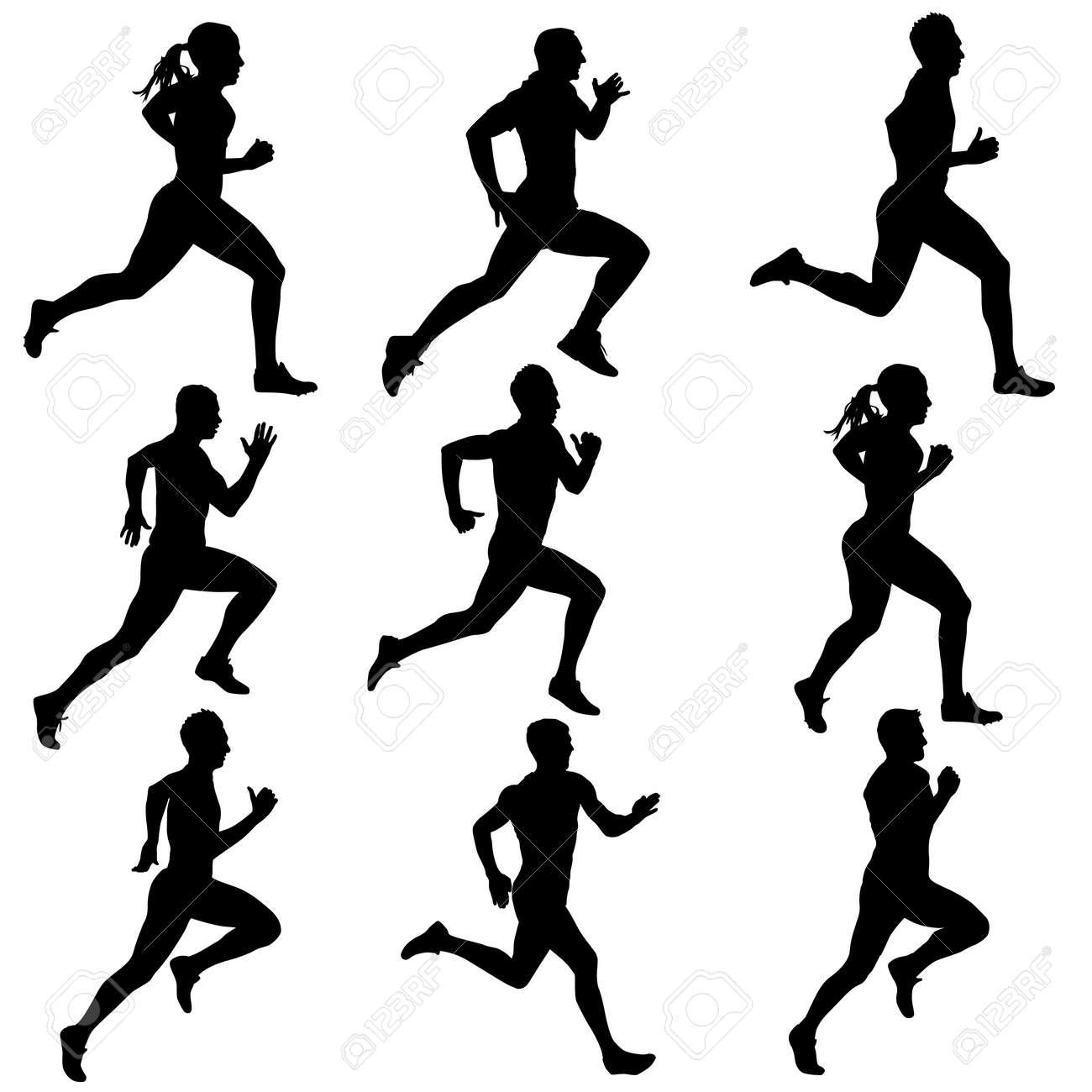 running women silhouettes illustration. - 25964770