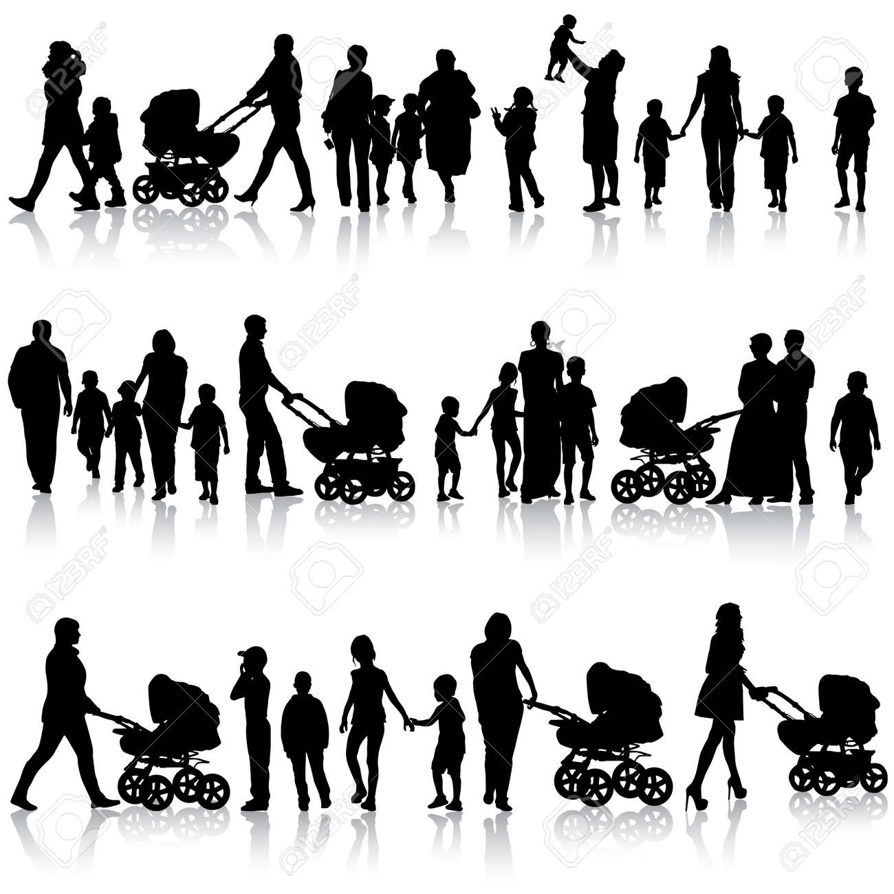 Black set of silhouettes of parents and children on white background. Vector illustration. - 26263908