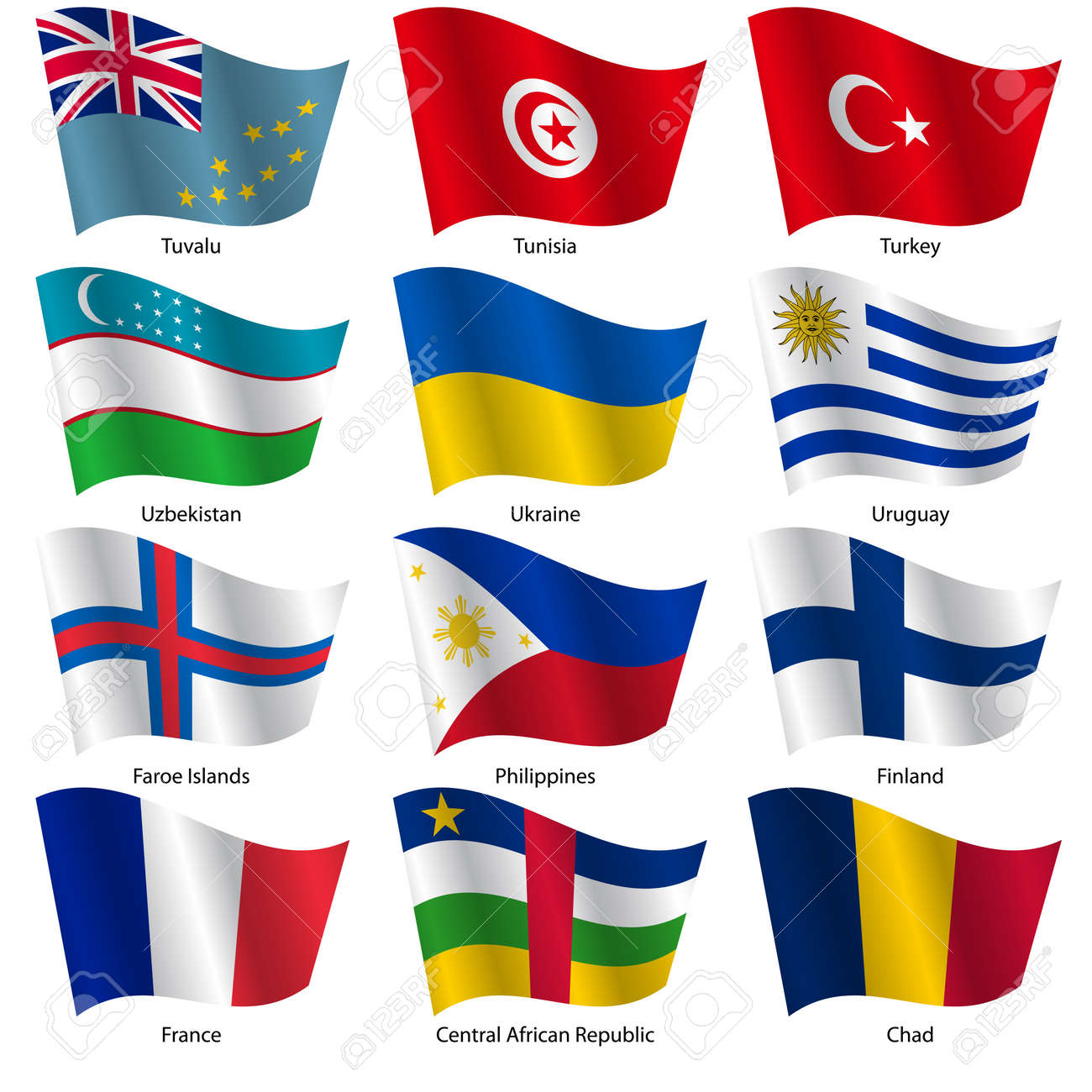 Set Flags of world sovereign states. Vector illustration. Set number 16. Exact colors. Easy changes. - 26962510