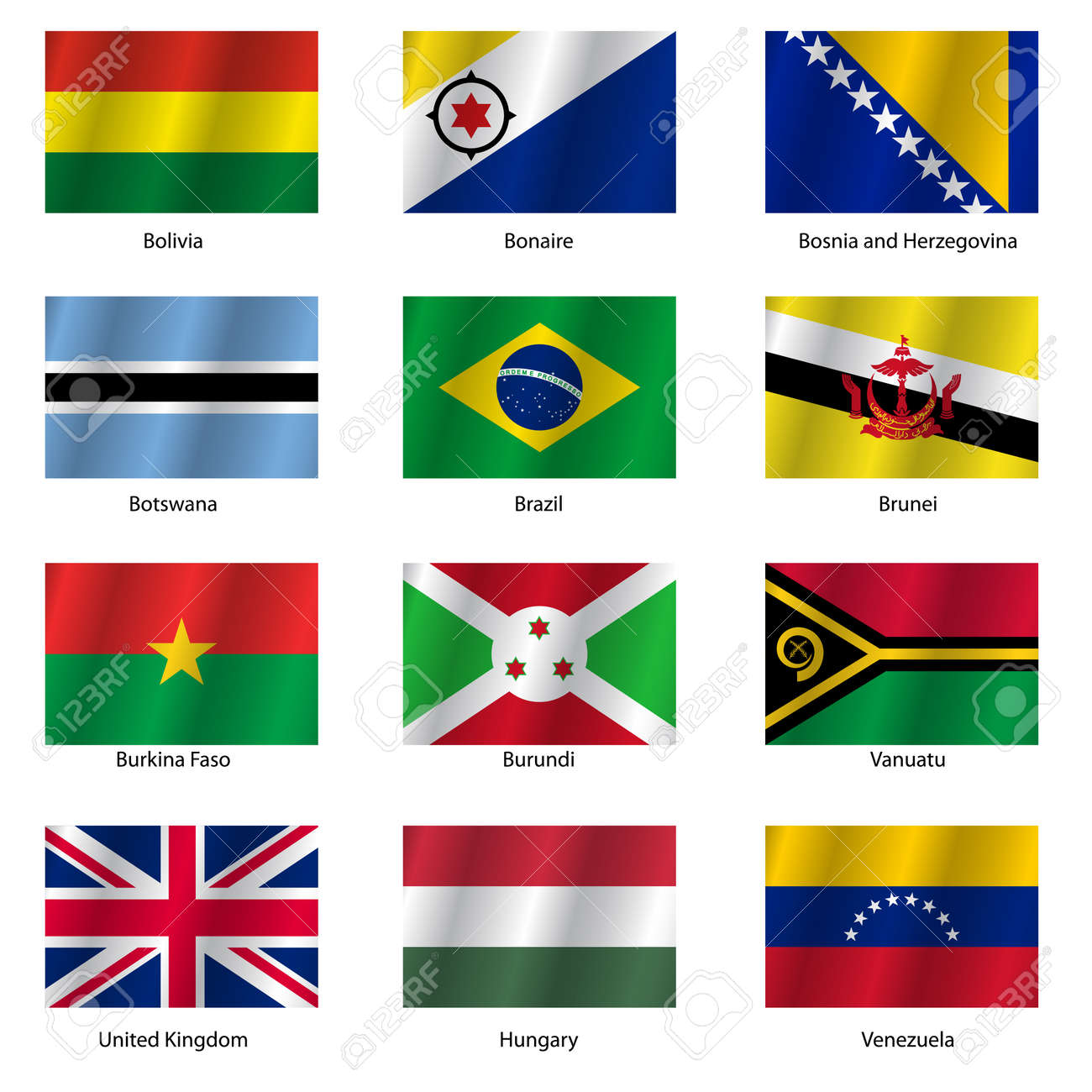 Set Flags Of World Sovereign States. Vector Illustration. Set ...