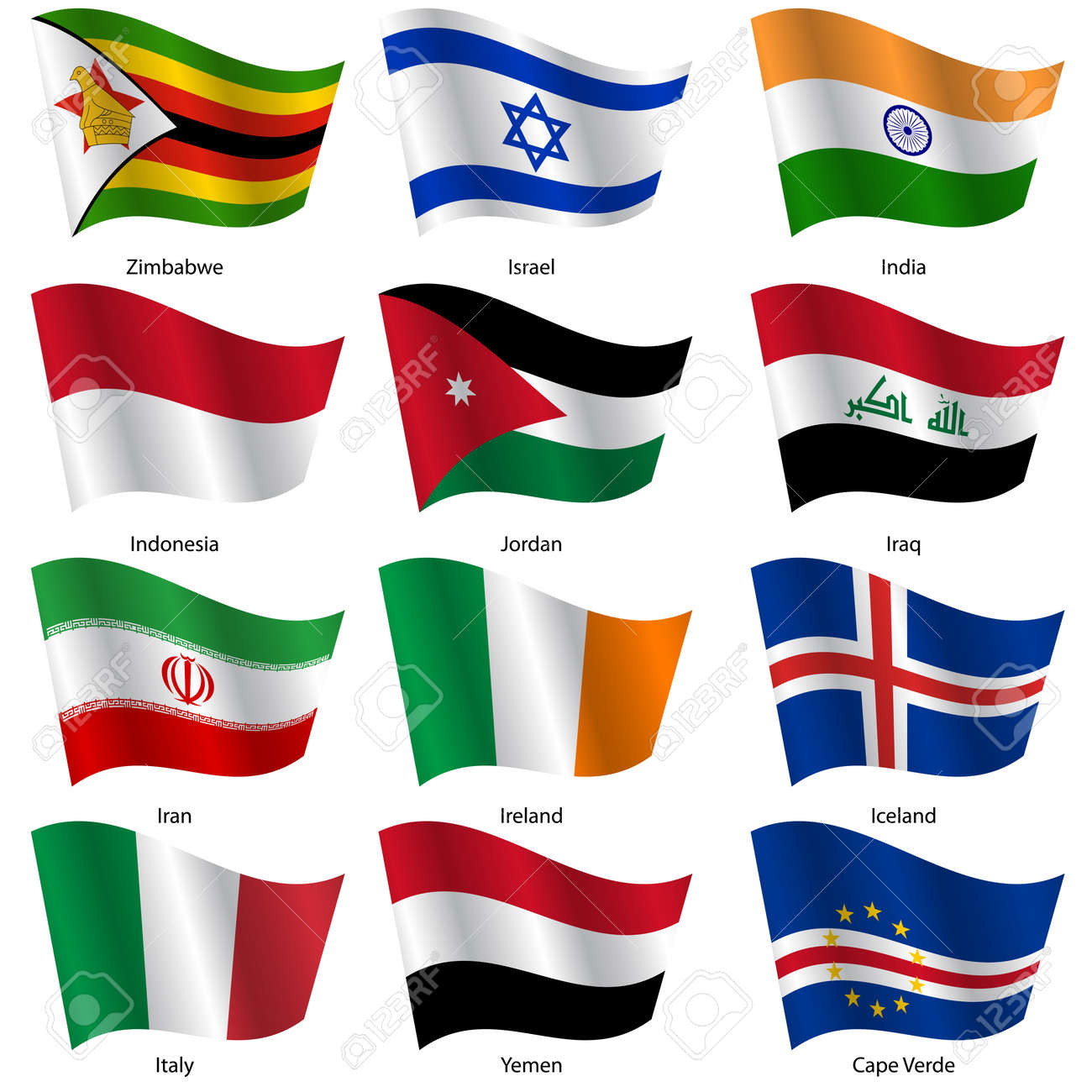 Set Flags of world sovereign states. Vector illustration. Set number 6. Exact colors. Easy changes. - 26963601