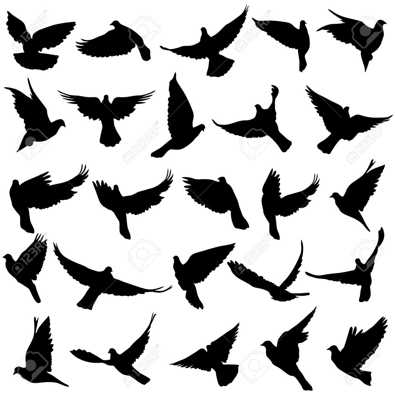 Set of silhouettes of doves - 29642055